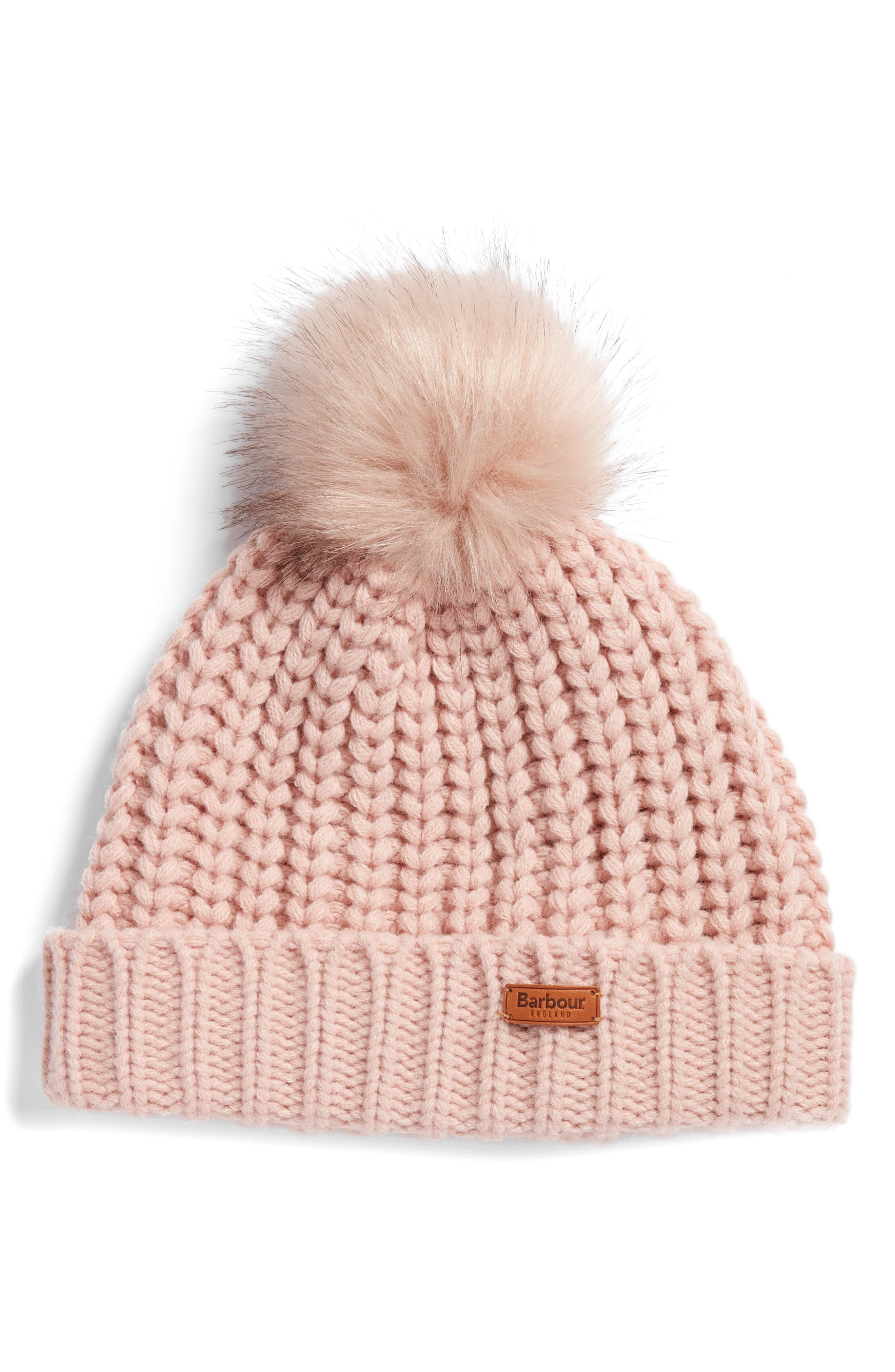 Saltburn Beanie with Faux Fur Pom,                         Main,                         color, PINK