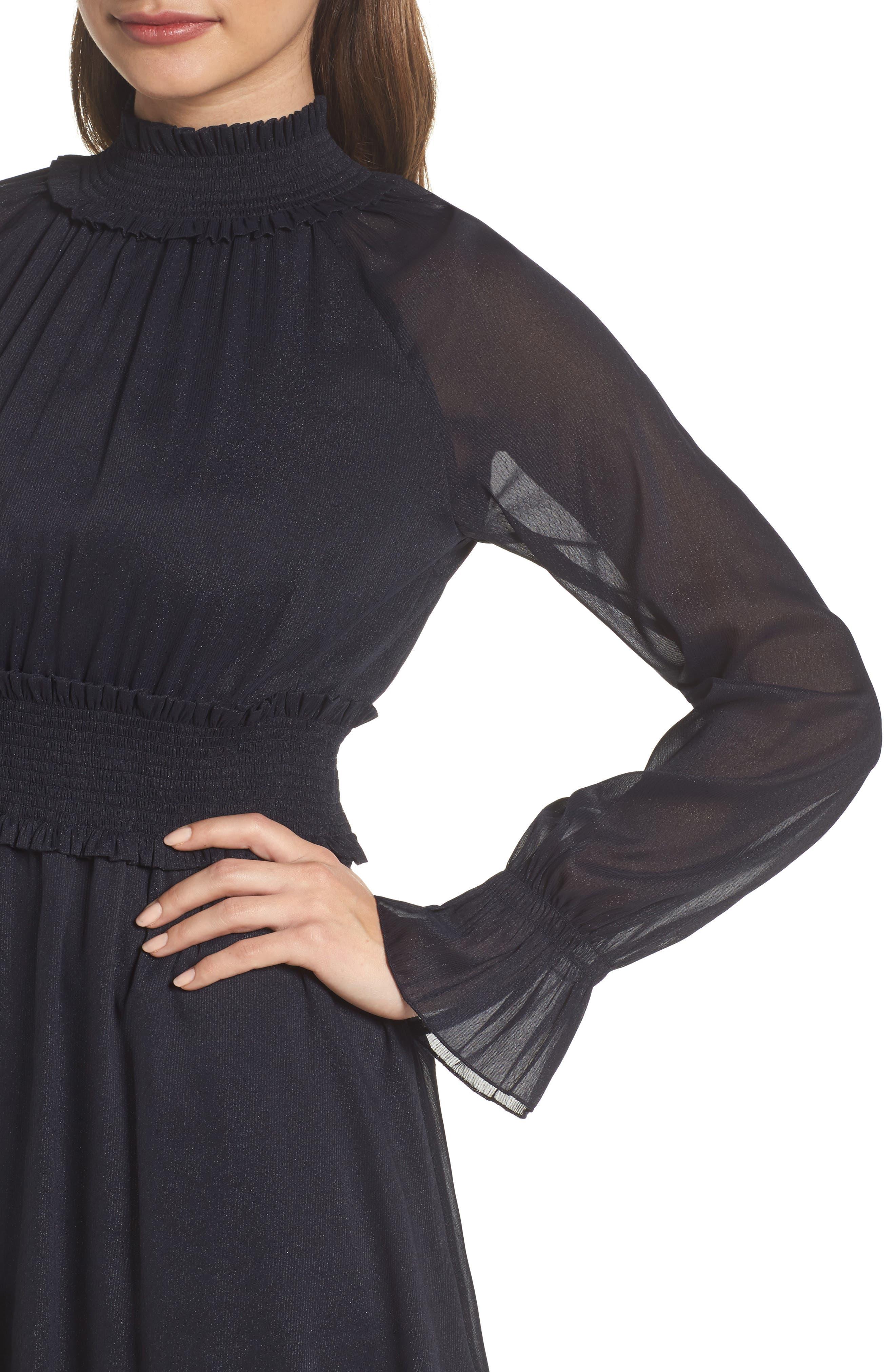 Smocked Long Sleeve Dress,                             Alternate thumbnail 4, color,                             410