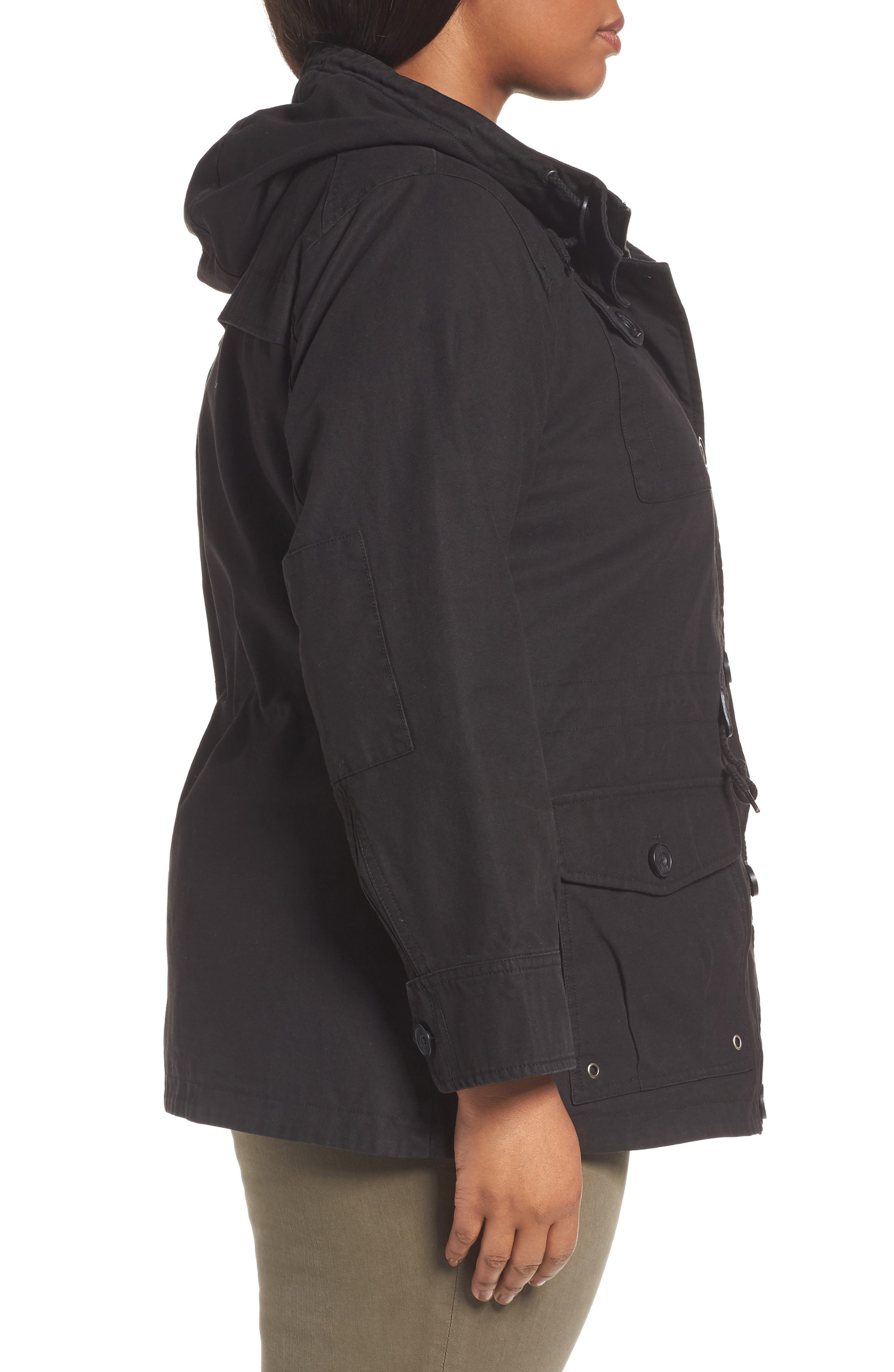 Hooded Cotton Utility Jacket,                             Alternate thumbnail 3, color,                             001