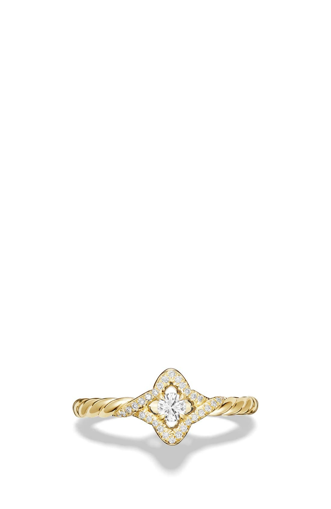 'Venetian Quatrefoil' Ring with Diamonds,                             Alternate thumbnail 4, color,                             YELLOW GOLD
