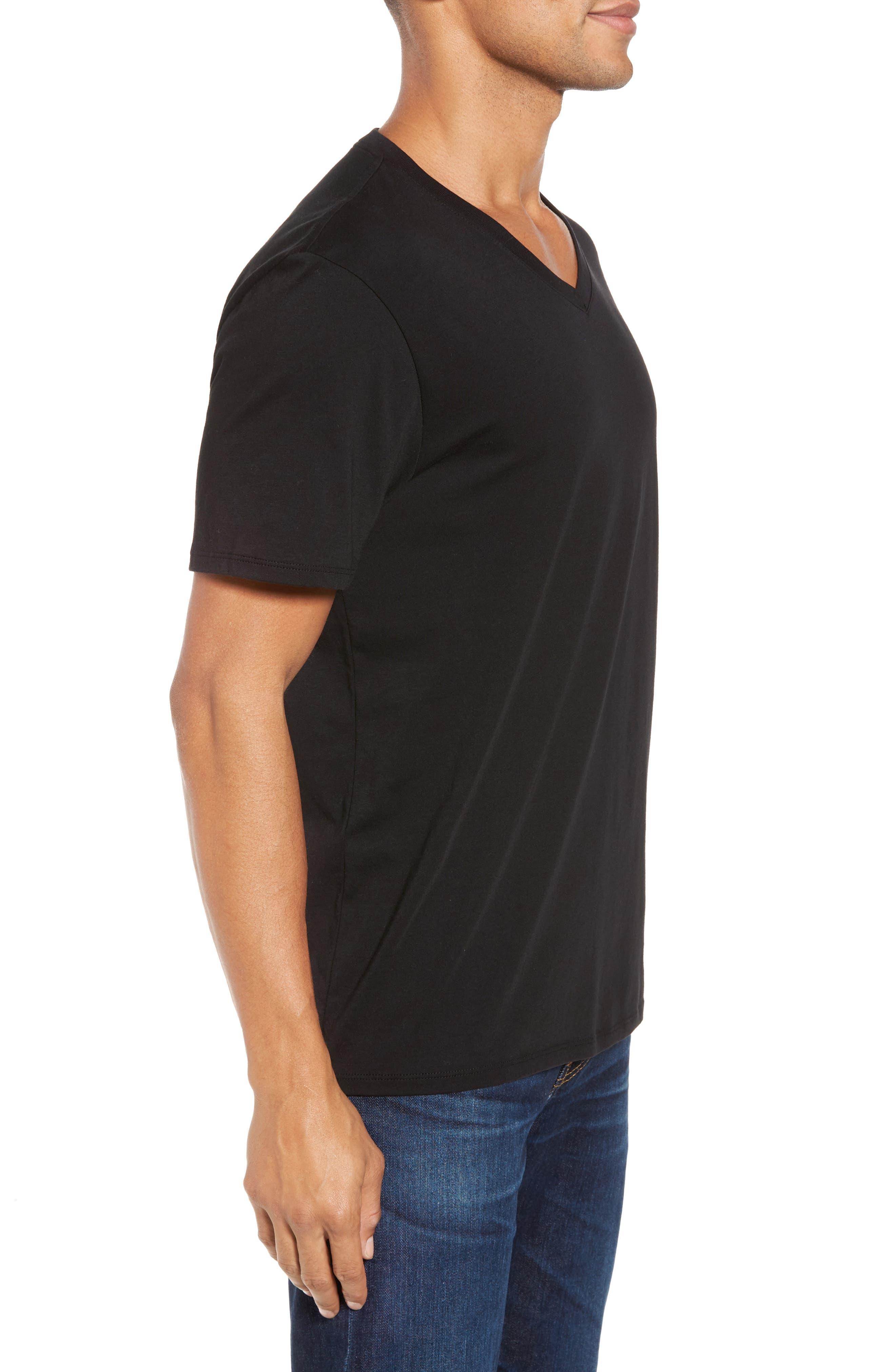 VINCE,                             Pima Cotton V-Neck T-Shirt,                             Alternate thumbnail 3, color,                             BLACK