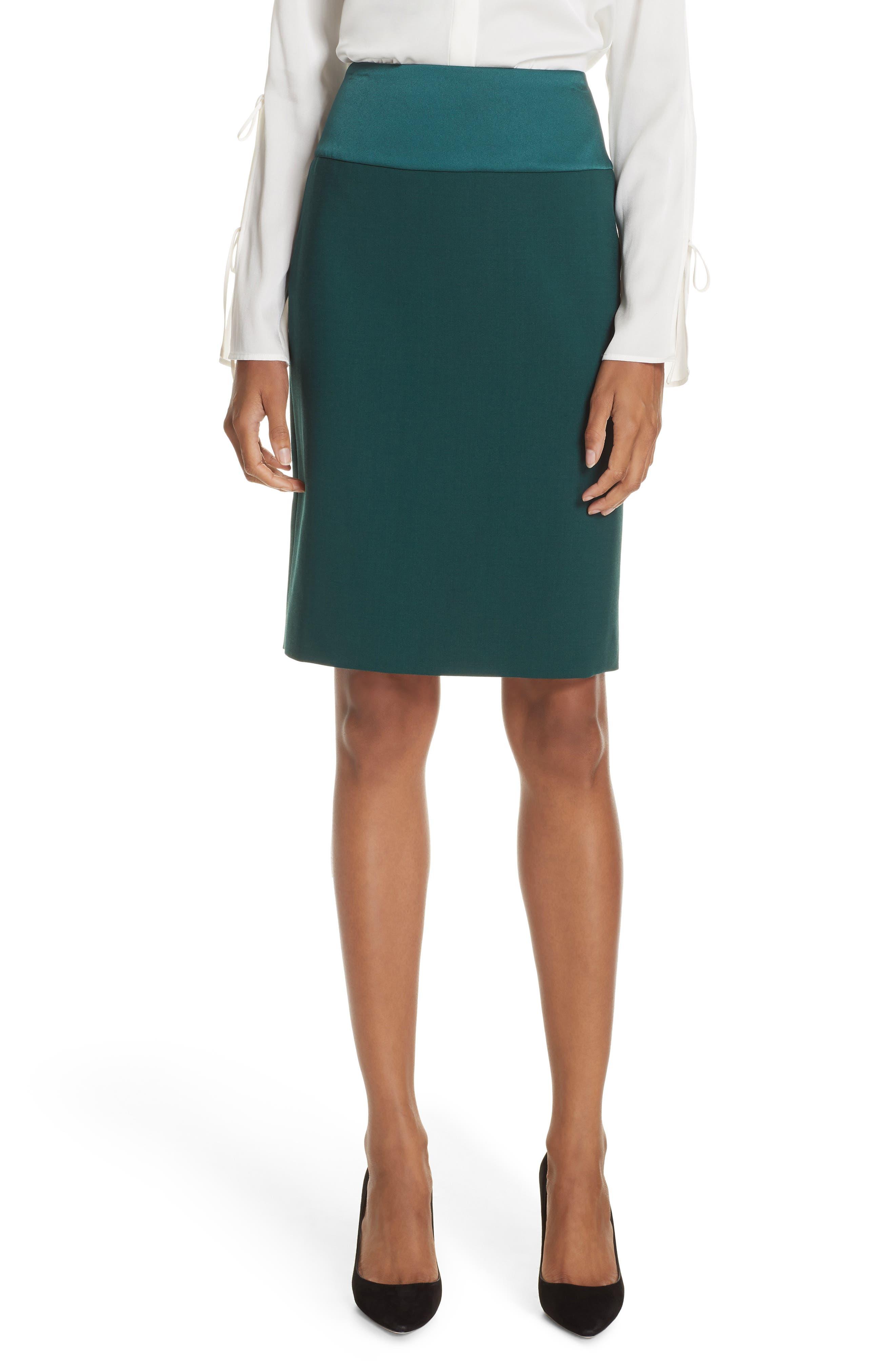 Vanufa Stretch Wool Suit Skirt,                             Main thumbnail 1, color,                             PINE GREEN