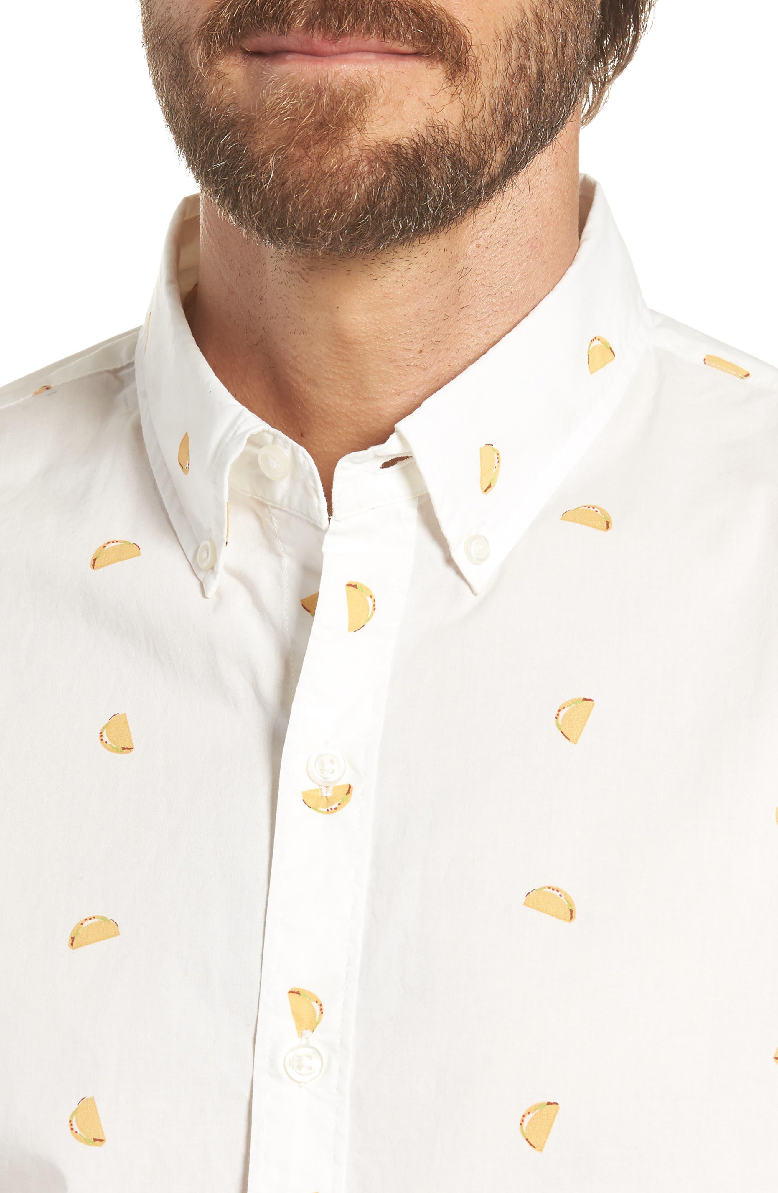 Summerweight Slim Fit Taco Print Sport Shirt,                             Alternate thumbnail 4, color,                             100