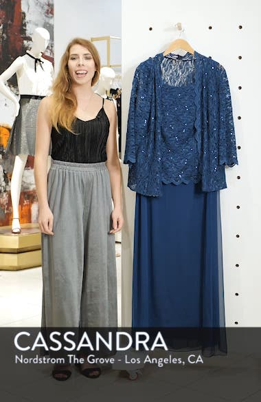 Sequin Lace & Chiffon Gown with Jacket, sales video thumbnail