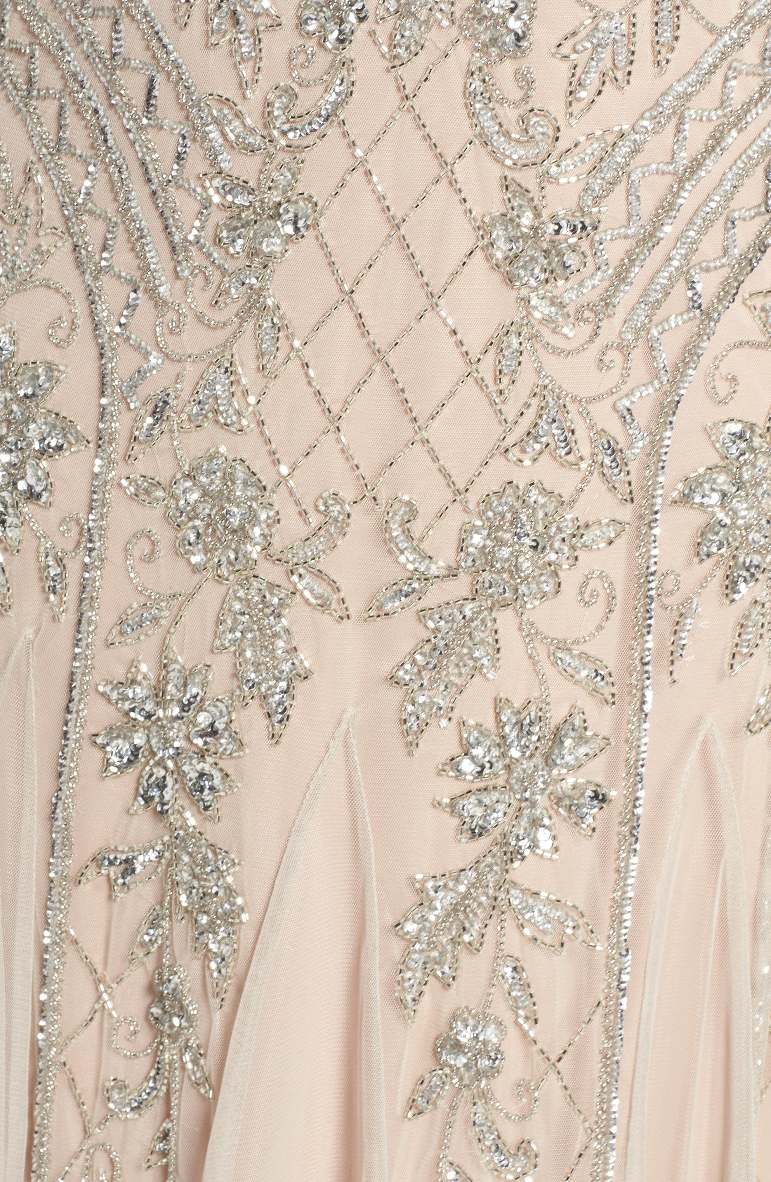 Beaded Double V-Neck Gown,                             Alternate thumbnail 5, color,                             040