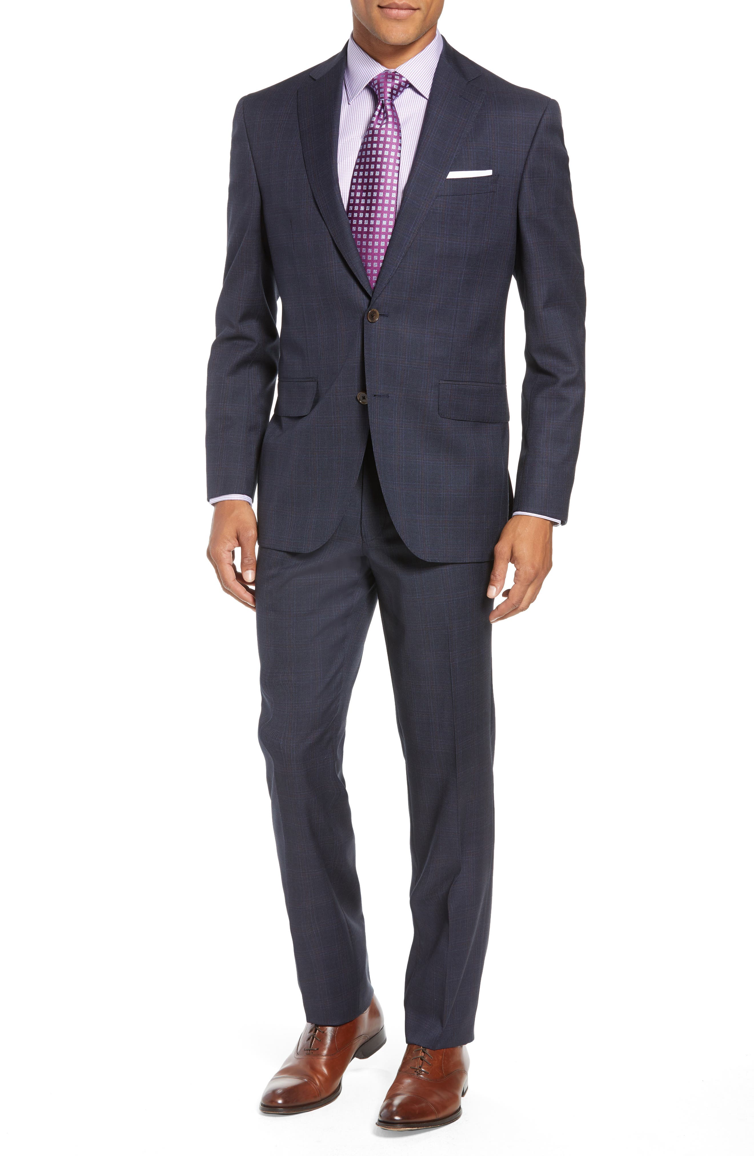Ryan Classic Fit Plaid Wool Suit,                             Main thumbnail 1, color,                             NAVY
