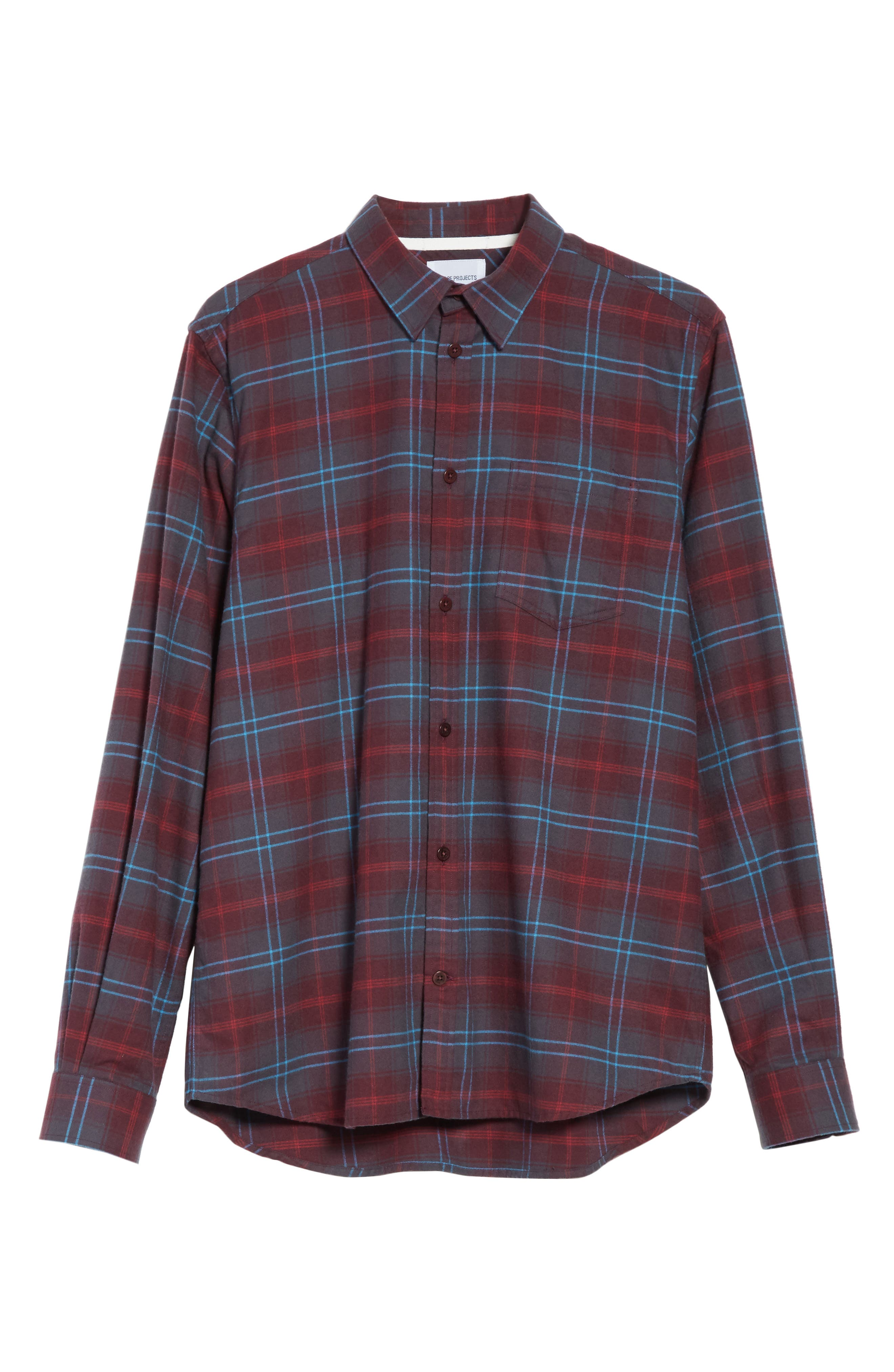 NORSE PROJECTS,                             Hans Brushed Check Shirt,                             Alternate thumbnail 6, color,                             616