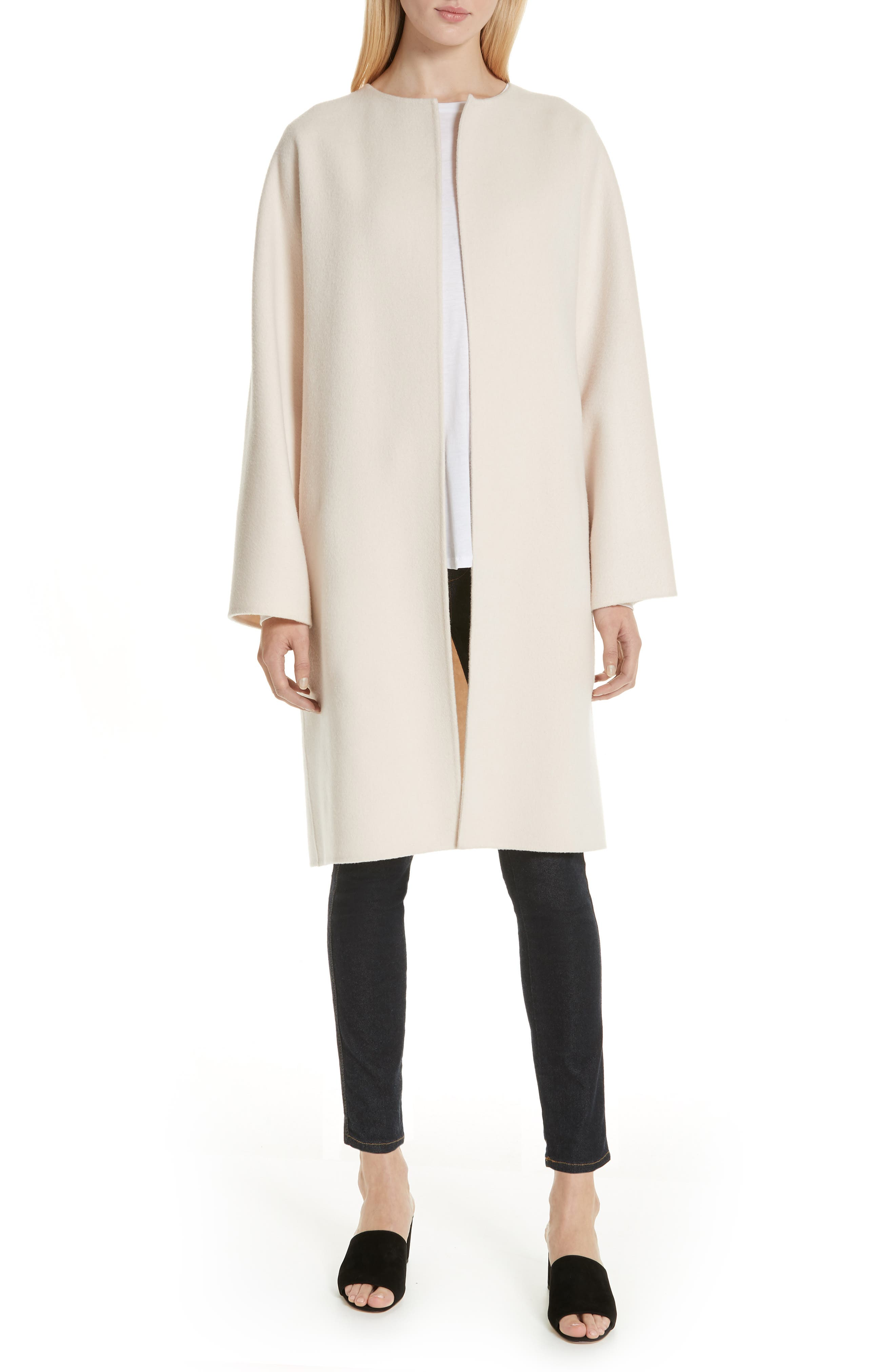 Rounded Double Face Wool & Cashmere Coat,                         Main,                         color, 900