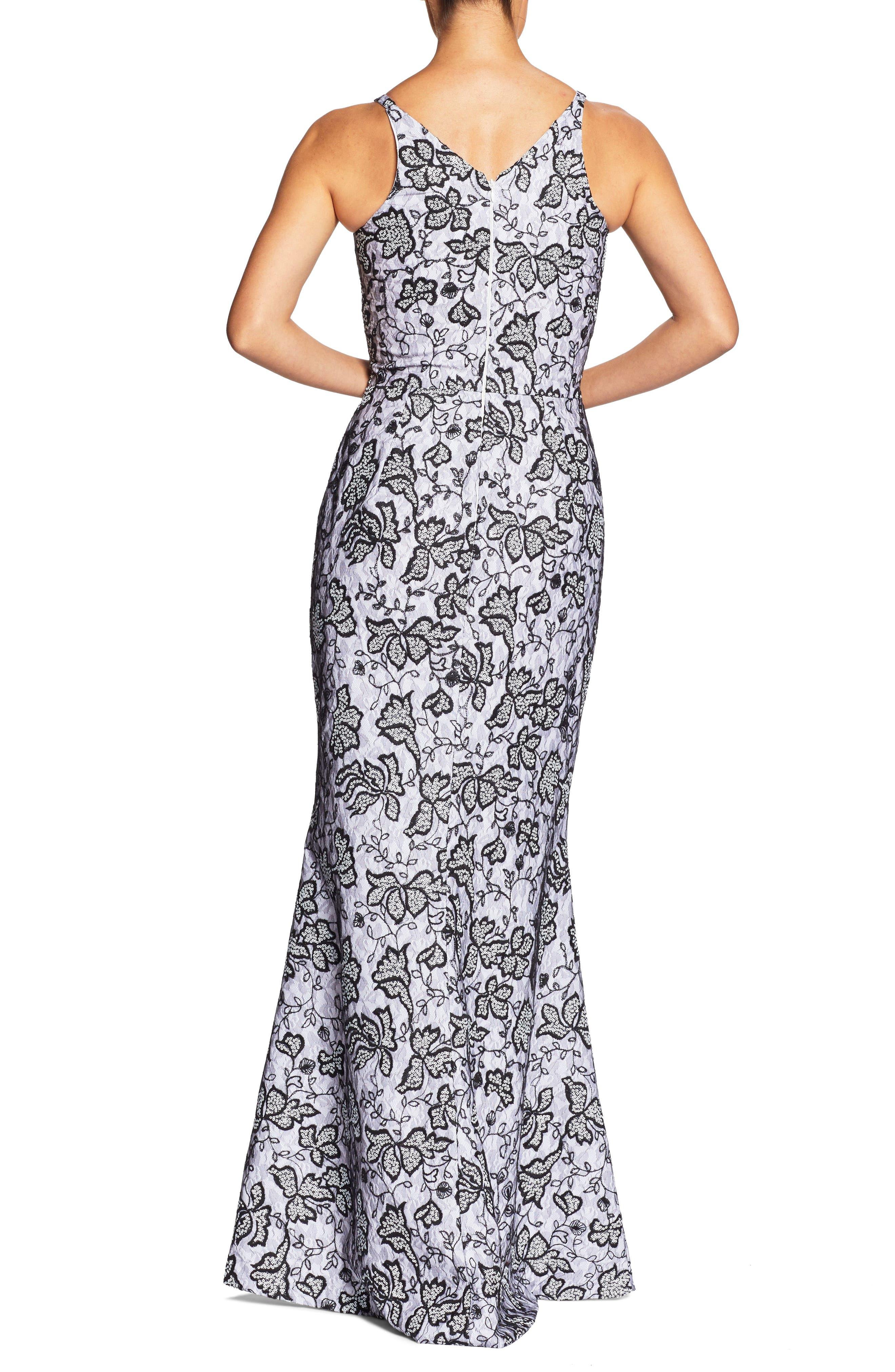 Karen Sequin & Lace Trumpet Gown,                             Alternate thumbnail 2, color,                             WHITE/ BLACK