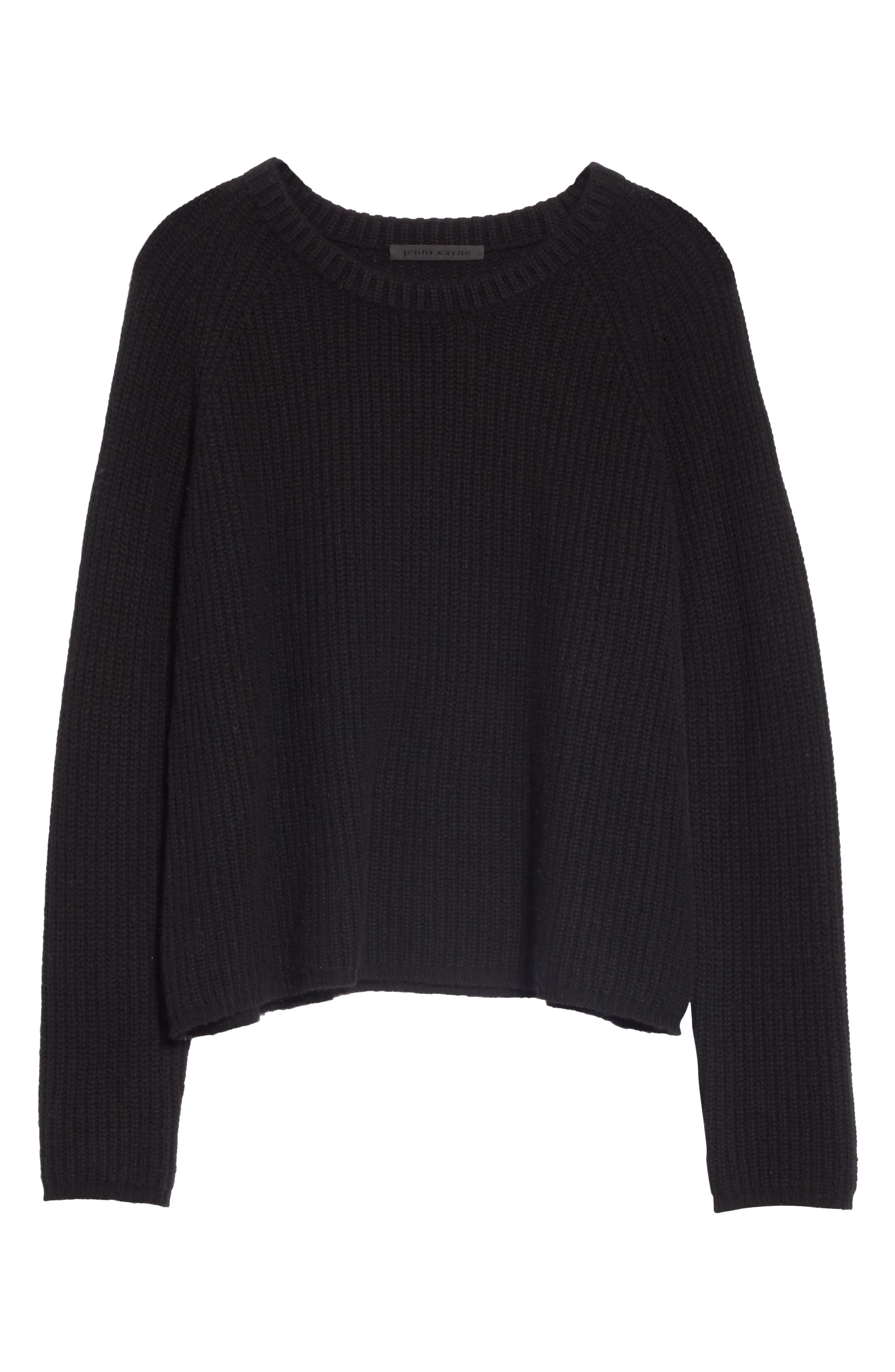 JENNI KAYNE,                             Fisherman Crewneck Cashmere Sweater,                             Alternate thumbnail 6, color,                             001