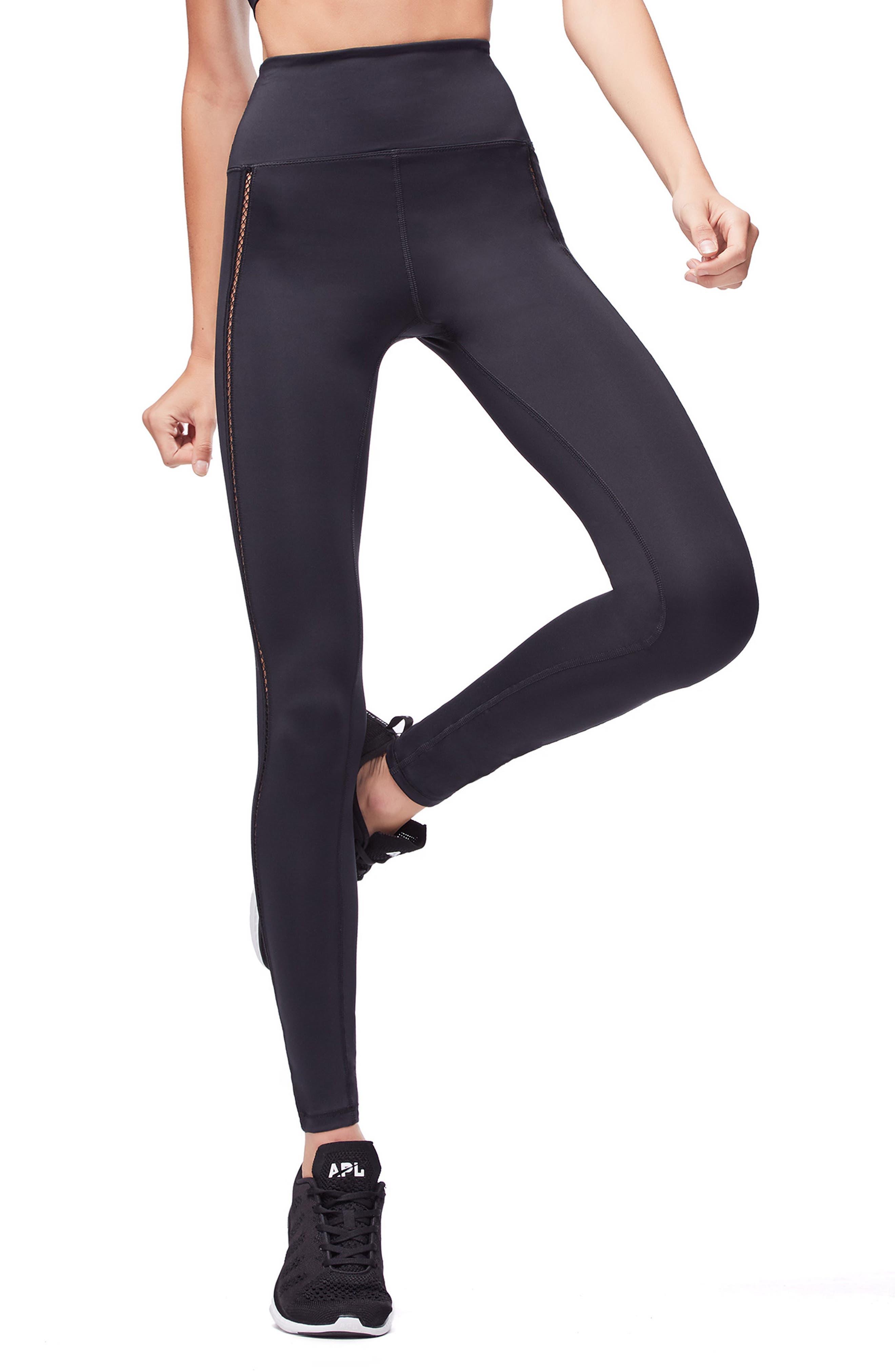 Mixed Mesh High Waist Leggings,                         Main,                         color, BLACK001