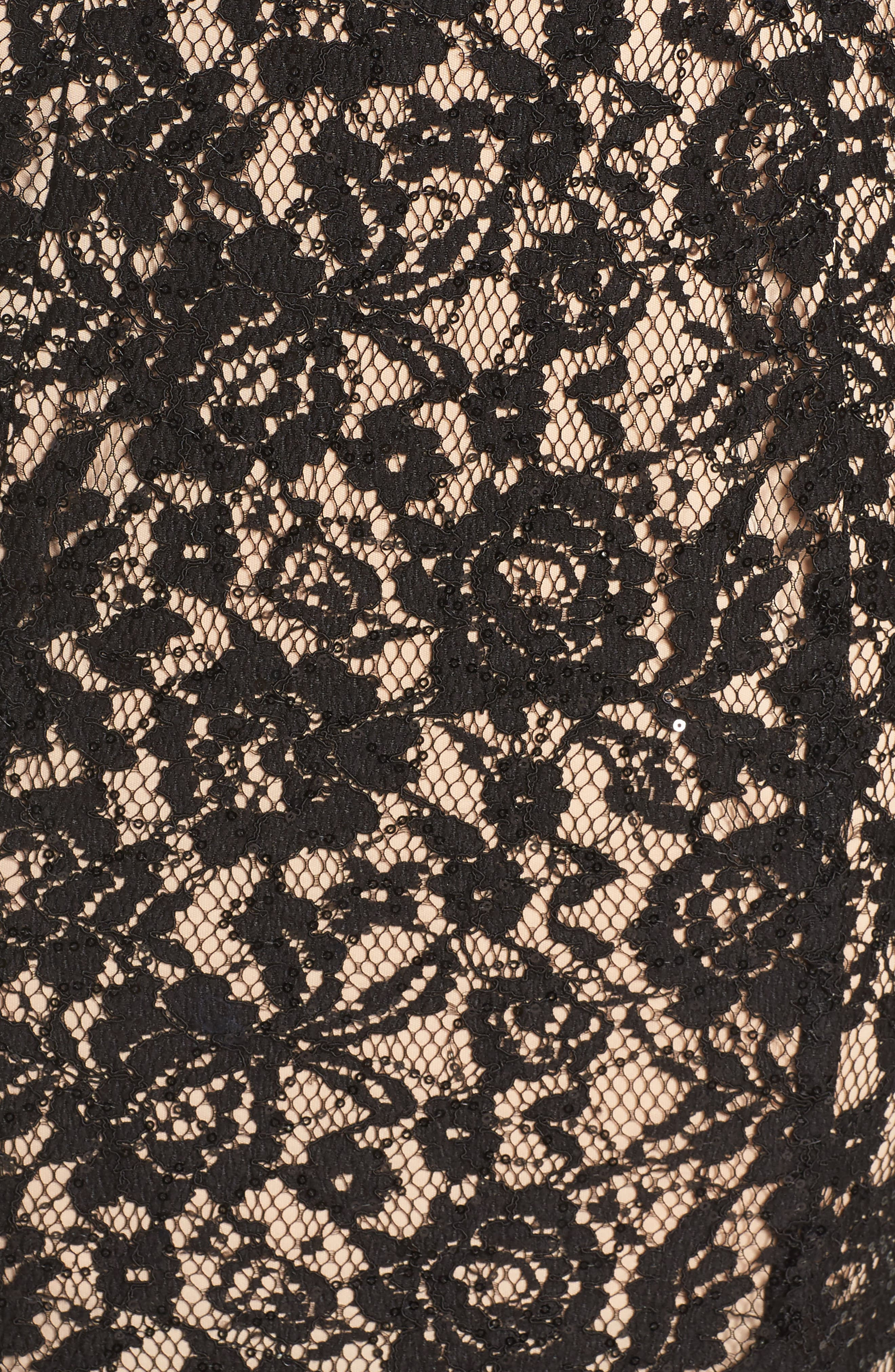 Sequin Lace Body-Con Gown,                             Alternate thumbnail 5, color,