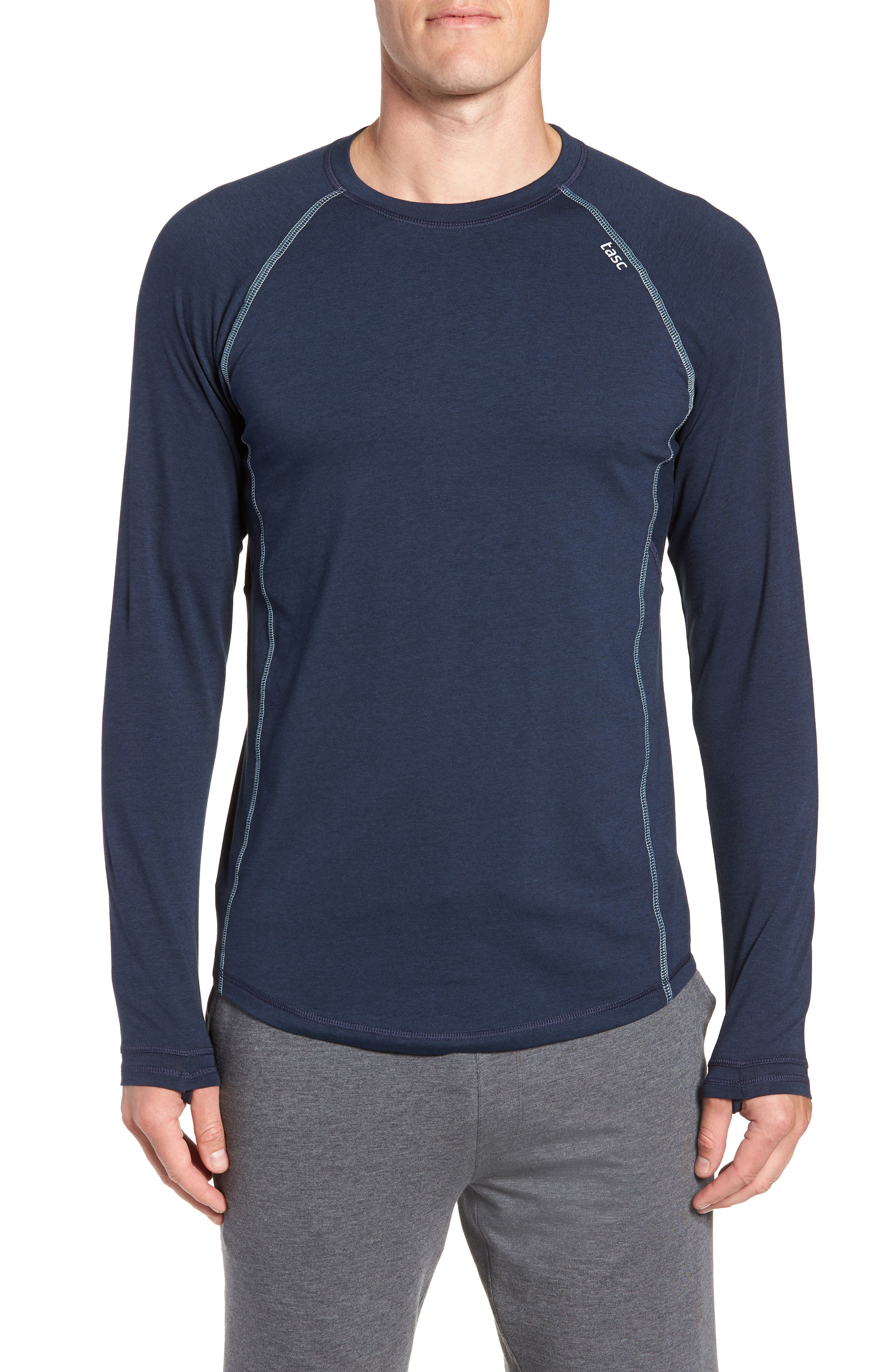 Charge II Long Sleeve T-Shirt,                         Main,                         color, CLASSIC NAVY/ TRANQUILITY SEA
