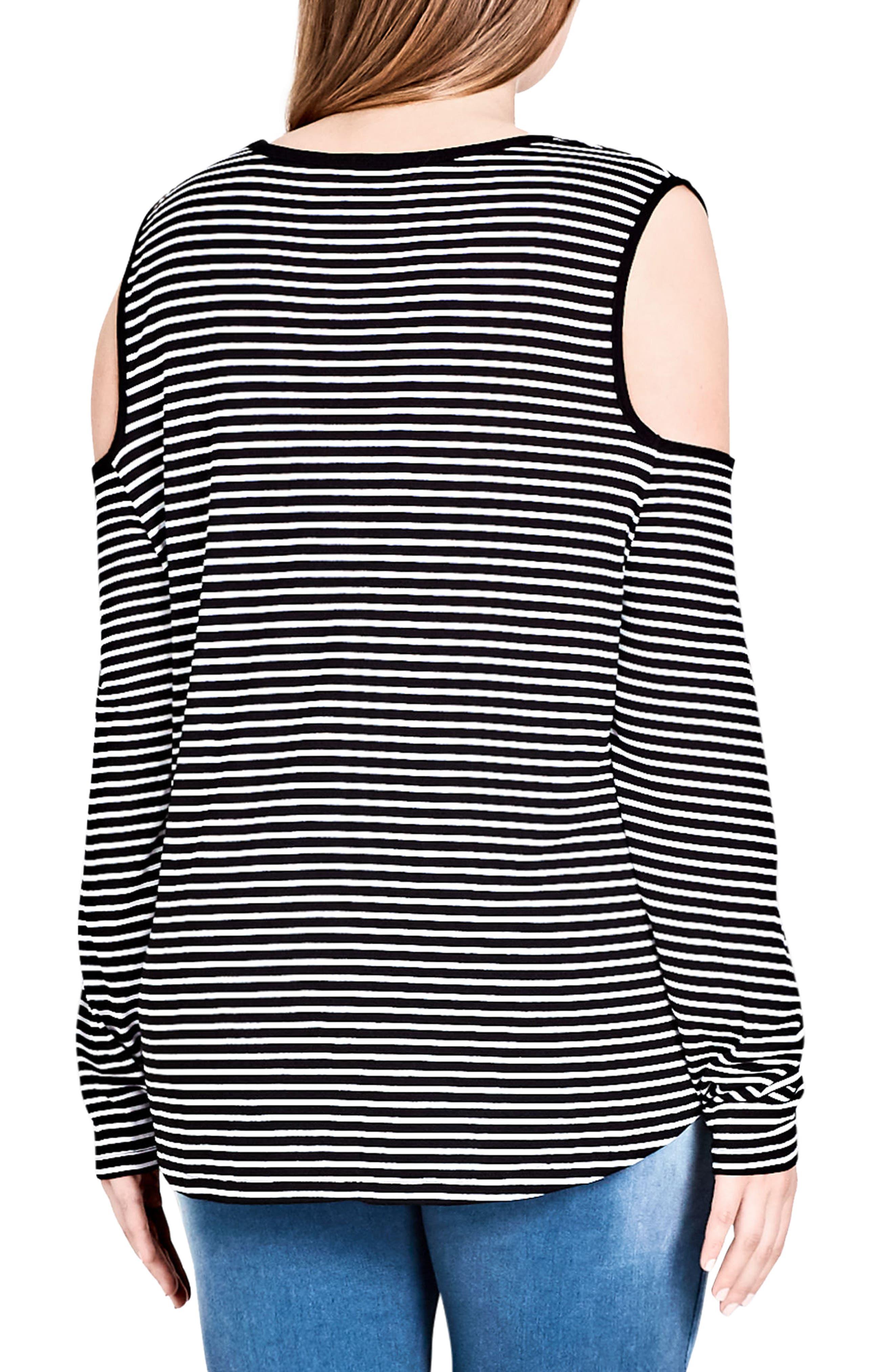 Stripe Cold Shoulder Jersey Top,                             Alternate thumbnail 2, color,                             001