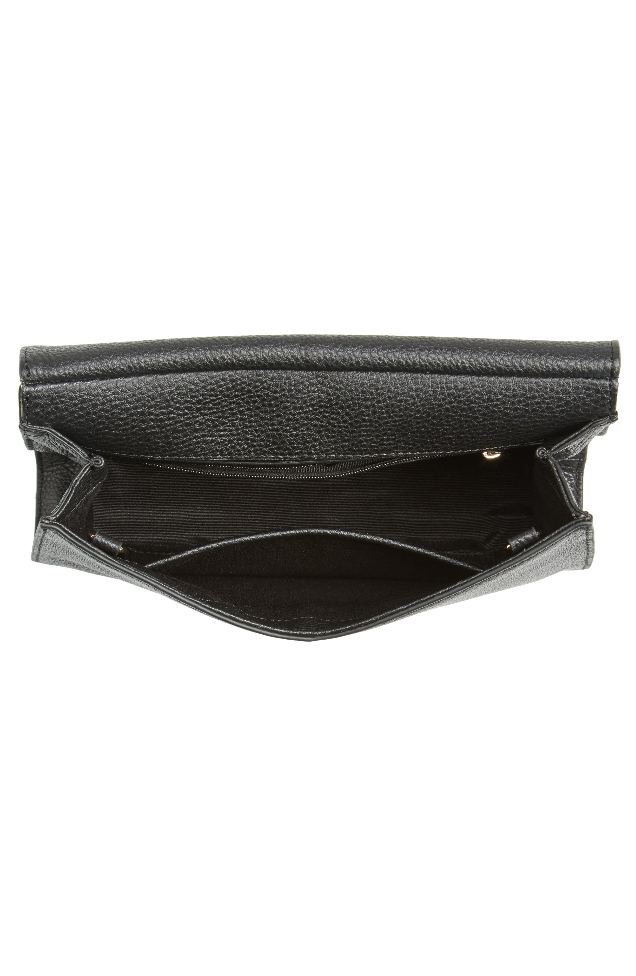 Astor Pebbled Leather Flap Clutch,                             Alternate thumbnail 13, color,