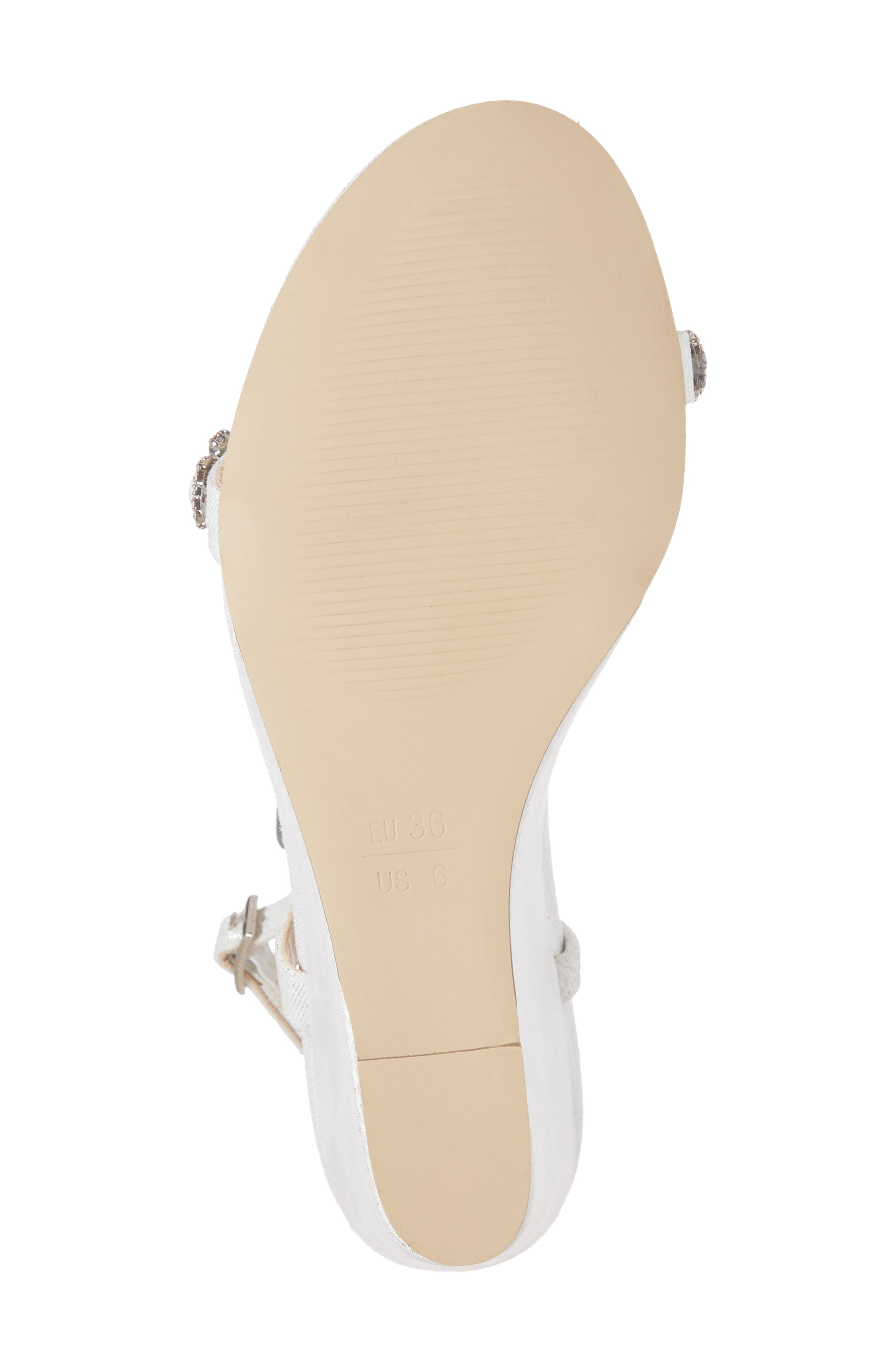 Kiana Embellished Wedge Sandal,                             Alternate thumbnail 6, color,                             SILVER GLITTER