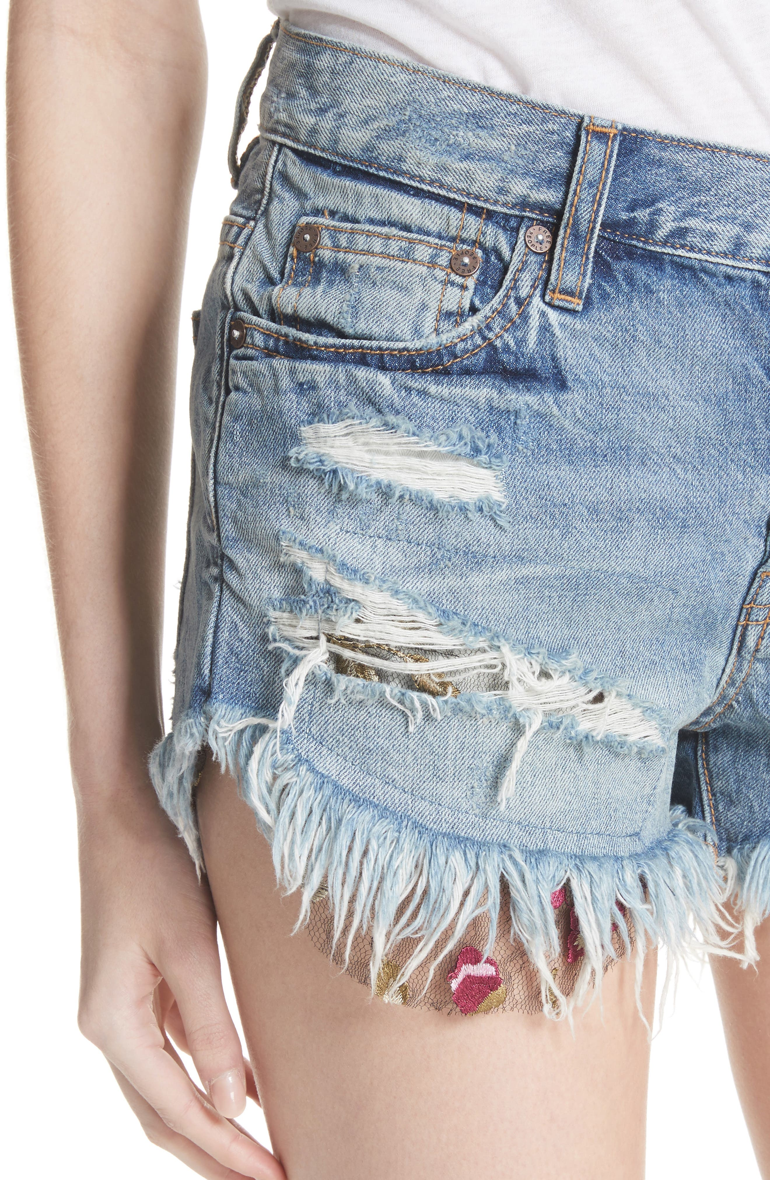 Embroidered Ripped Shorts,                             Alternate thumbnail 4, color,                             400