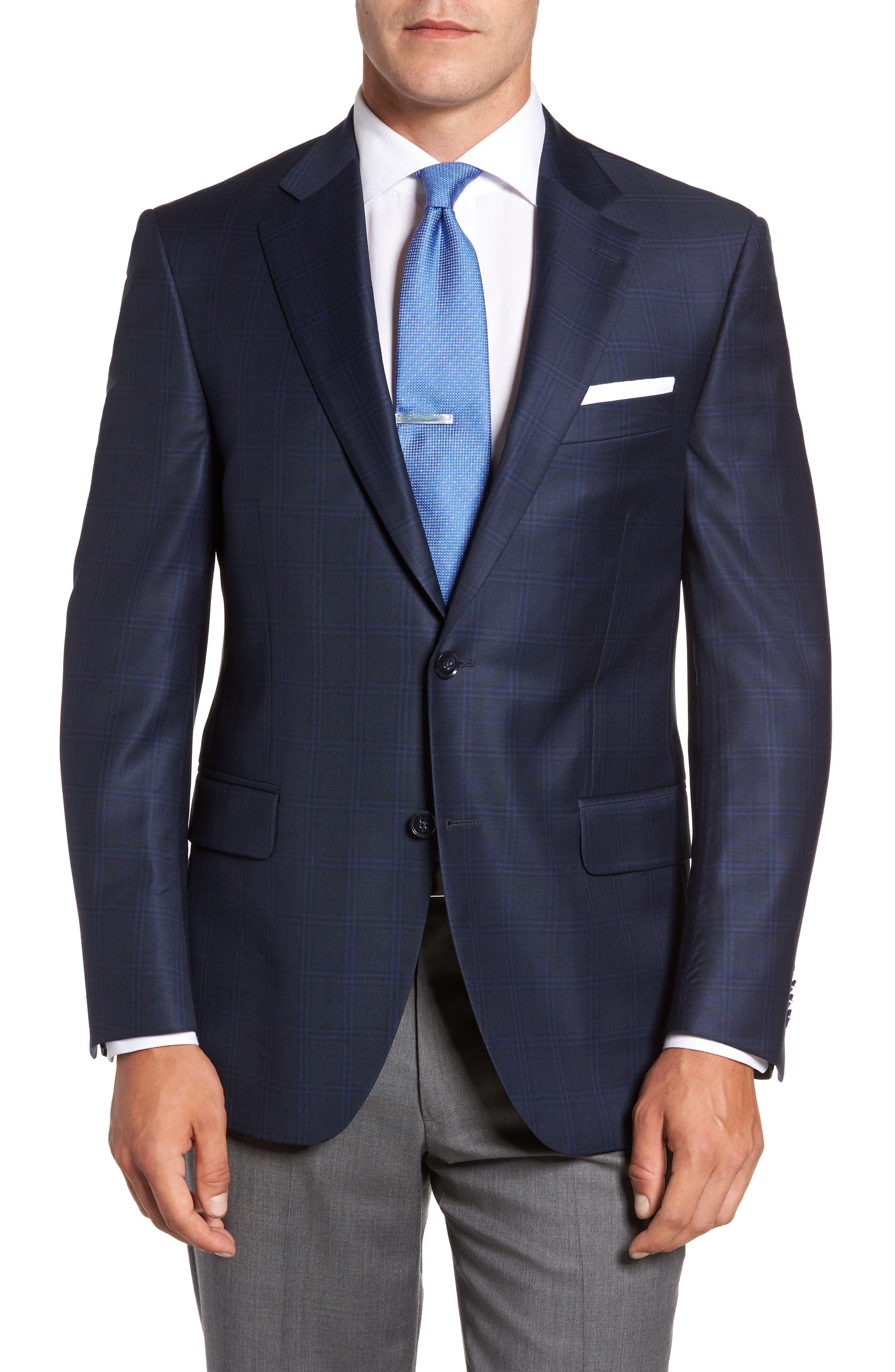 Flynn Classic Fit Plaid Wool Sport Coat,                         Main,                         color, 420
