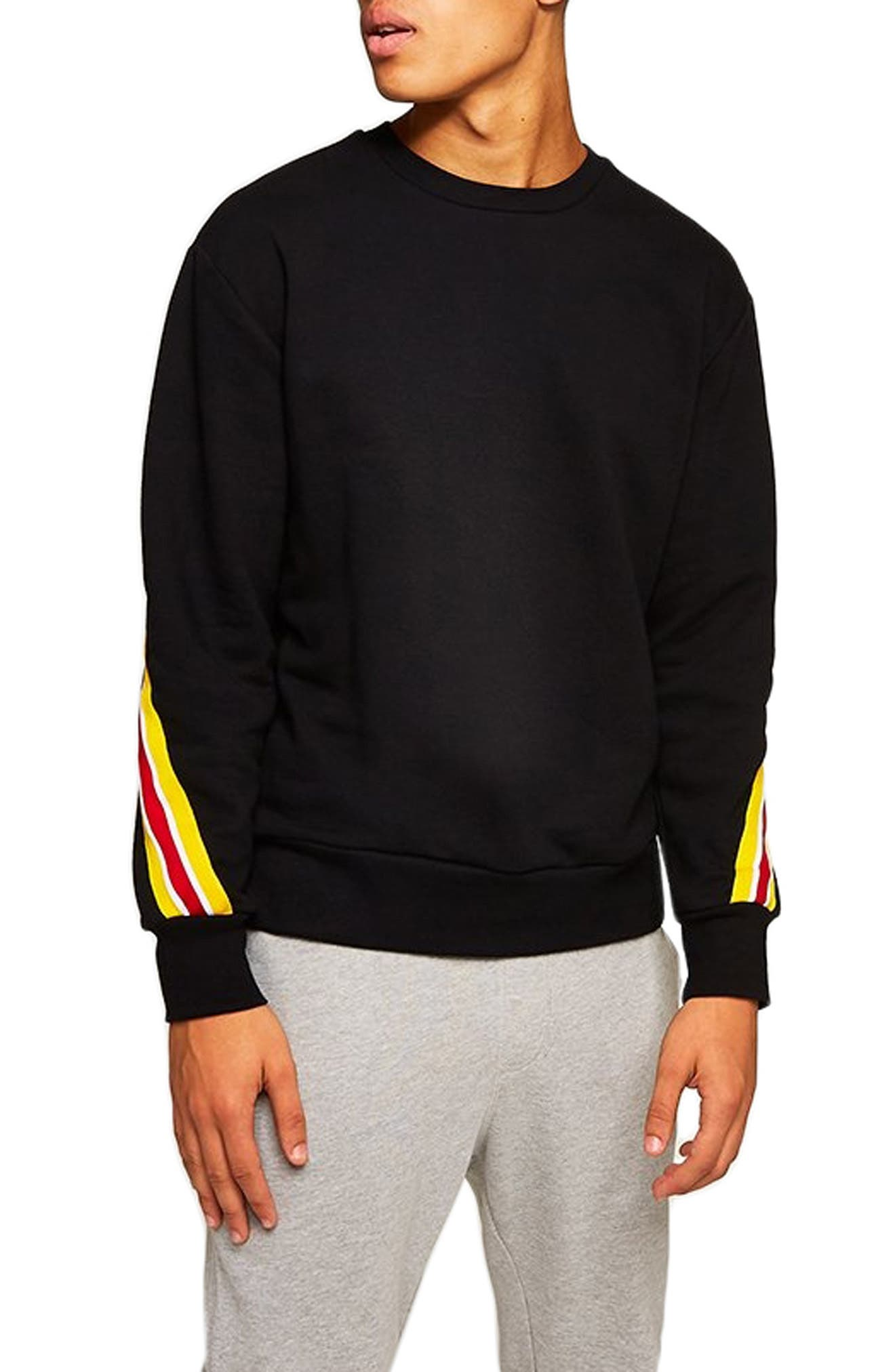 Back Taping Classic Fit Sweatshirt,                         Main,                         color, BLACK MULTI