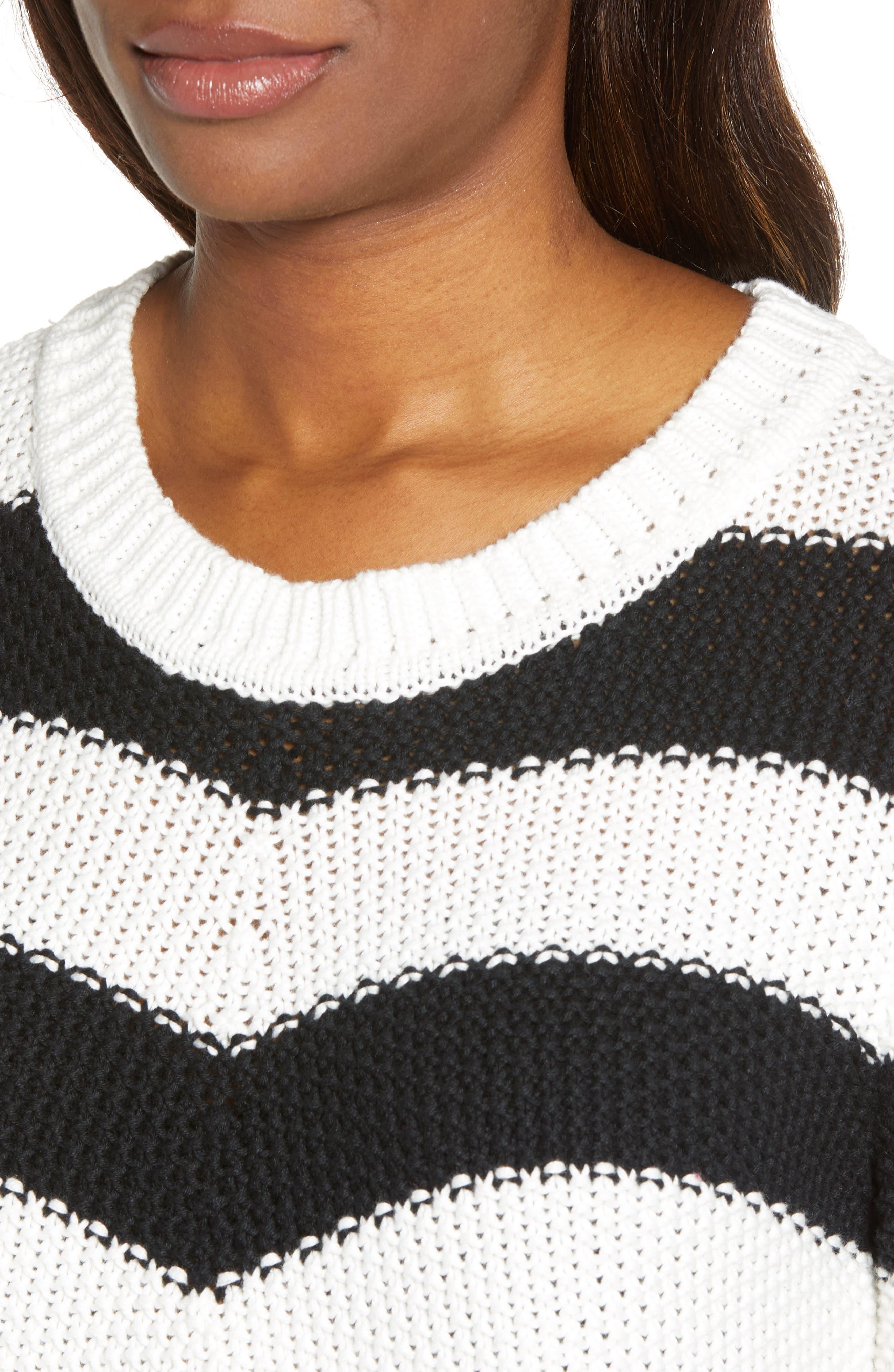 Stitch Stripe Sweater,                             Alternate thumbnail 4, color,                             BLACK- IVORY GABRIELLA STRIPE