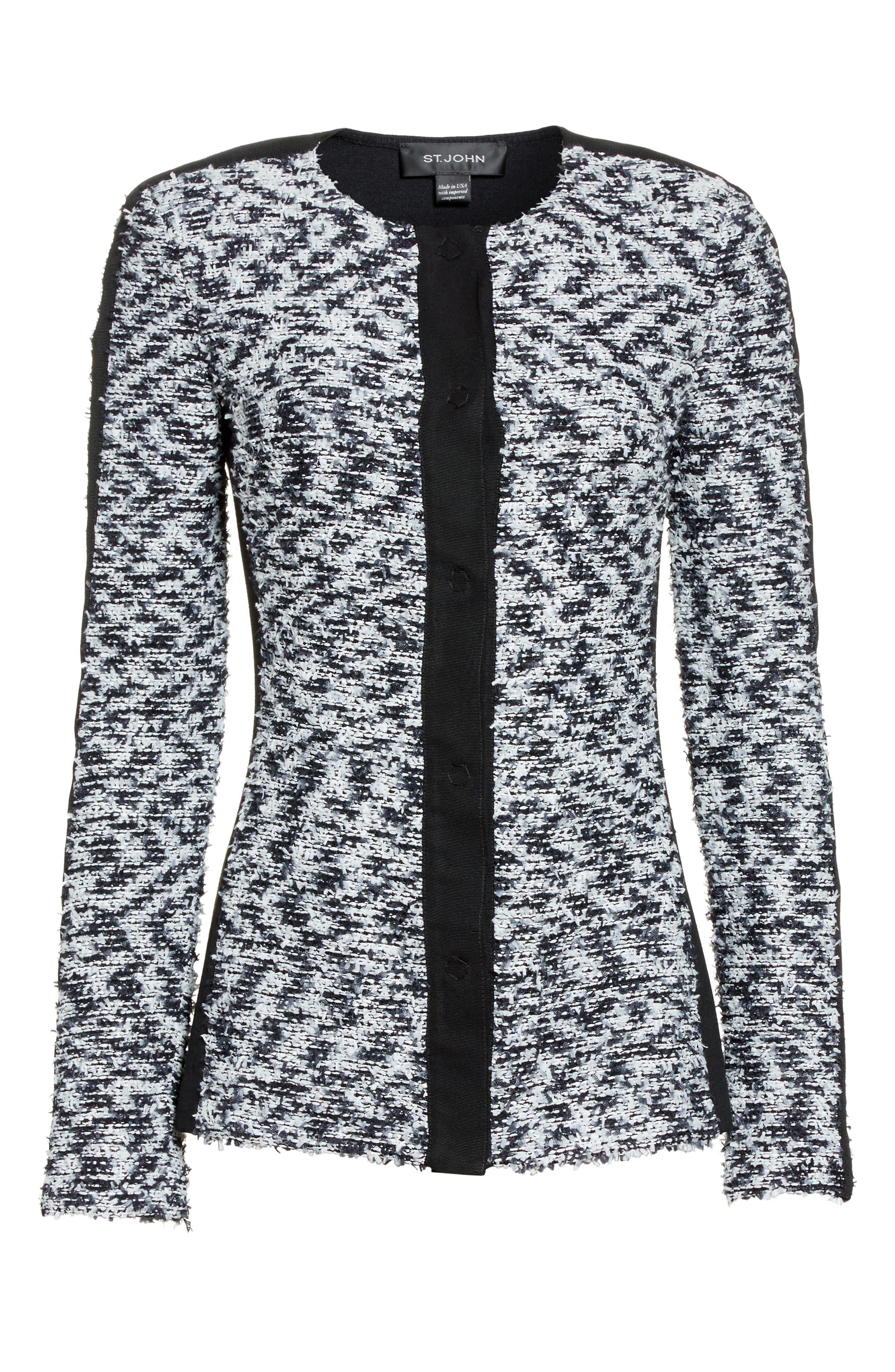 Eyelash Pebble Dash Tweed Knit Jacket,                             Alternate thumbnail 5, color,                             001