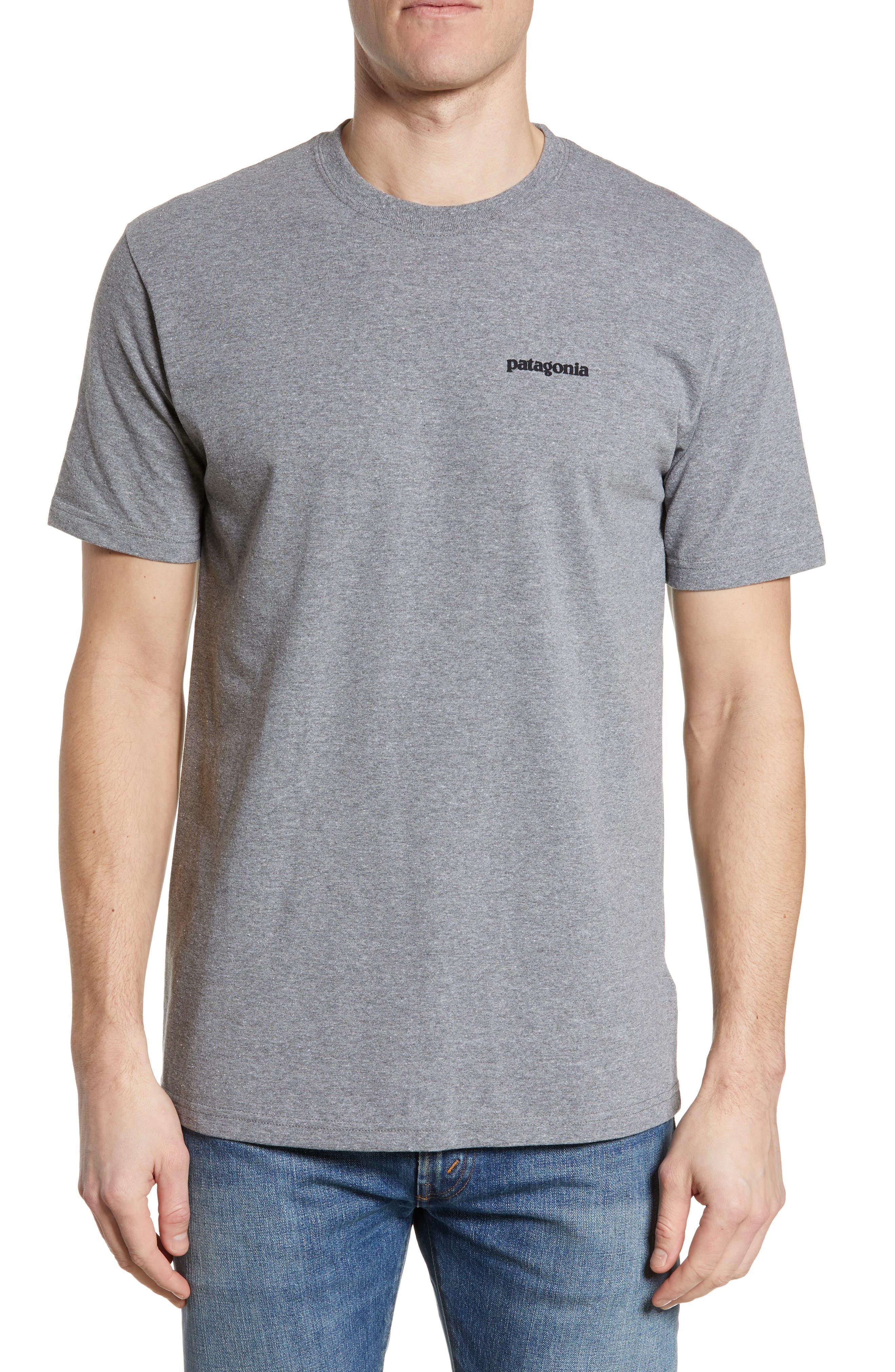 PATAGONIA,                             Fitz Roy Trout Crewneck T-Shirt,                             Main thumbnail 1, color,                             GRAVEL HEATHER
