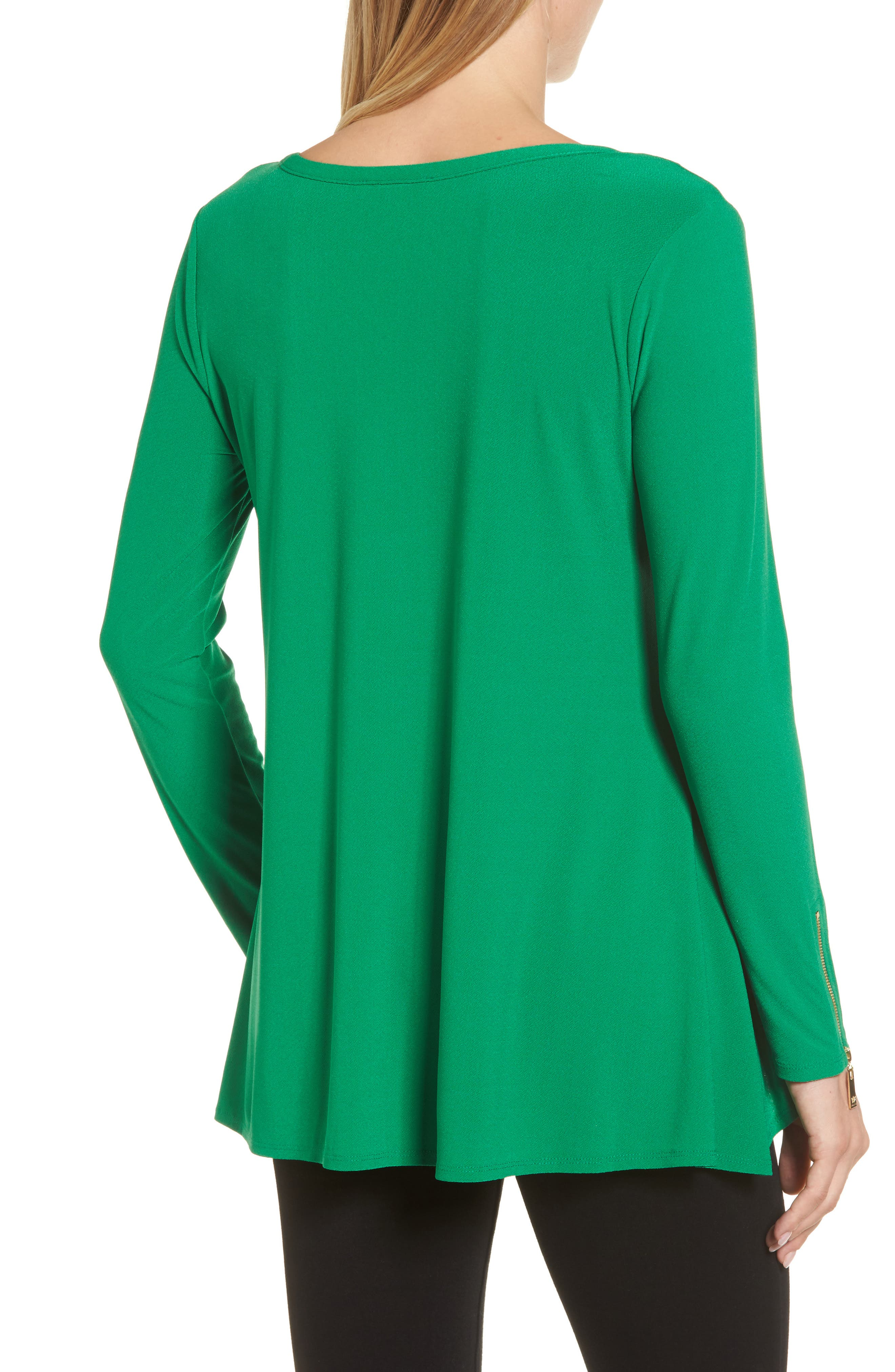 Zip Cuff Crepe Knit Top,                             Alternate thumbnail 2, color,