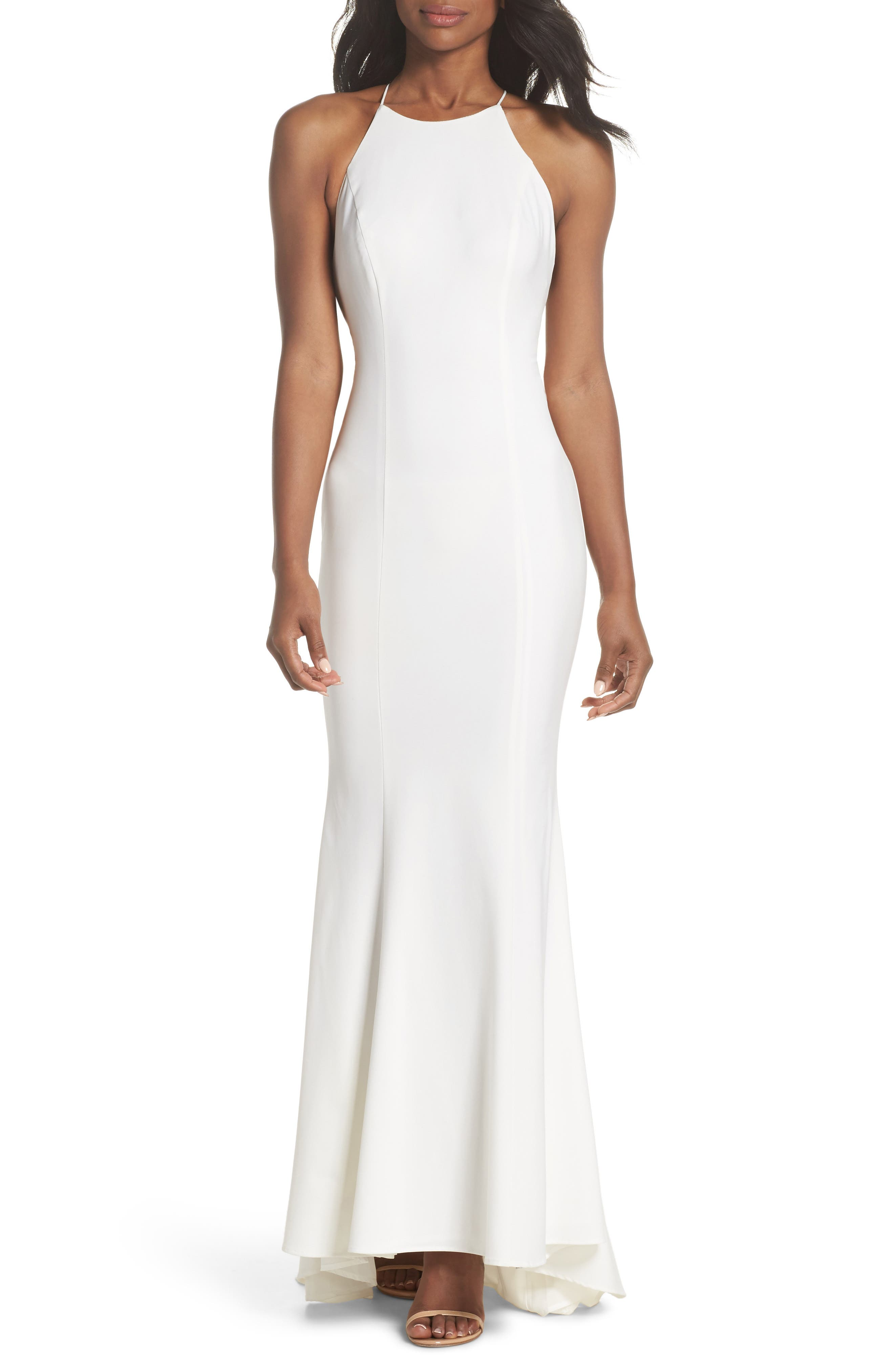 Zoe Ruffle Back Gown,                         Main,                         color, 100