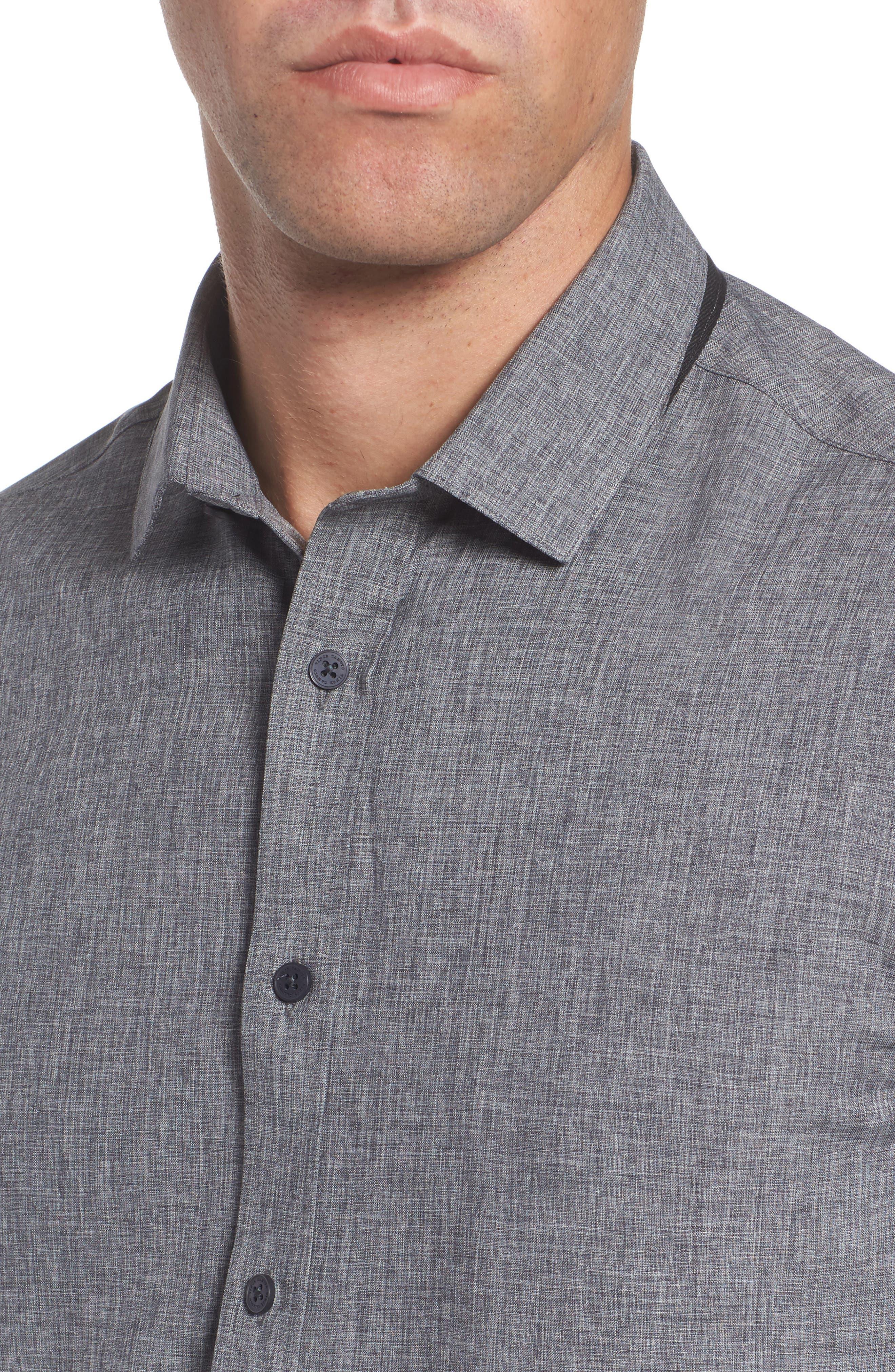 Trim Fit Performance Knit Sport Shirt,                             Alternate thumbnail 4, color,                             CHARCOAL SCRATCH