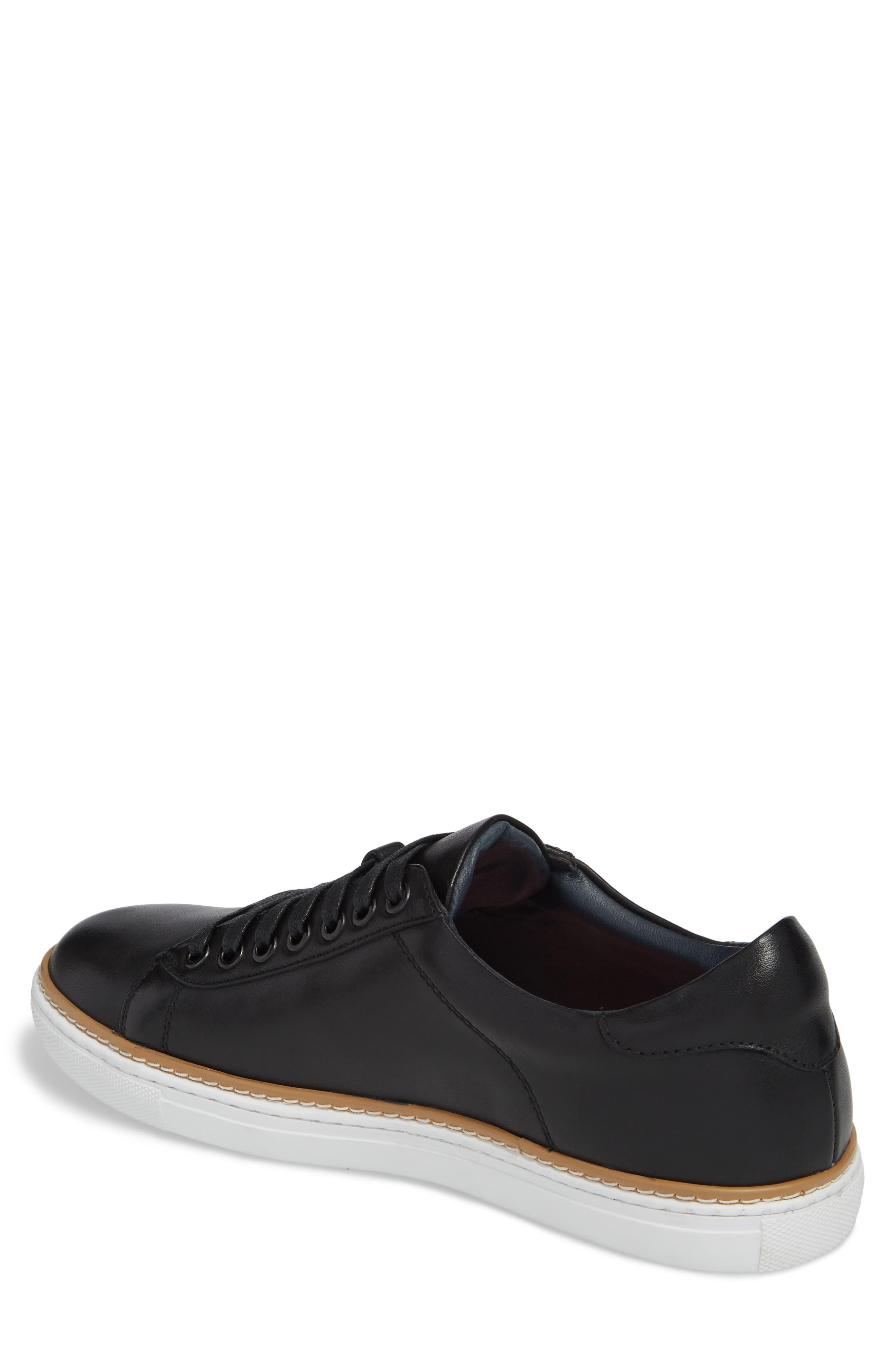 Juniper Low Top Sneaker,                             Alternate thumbnail 2, color,                             BLACK LEATHER