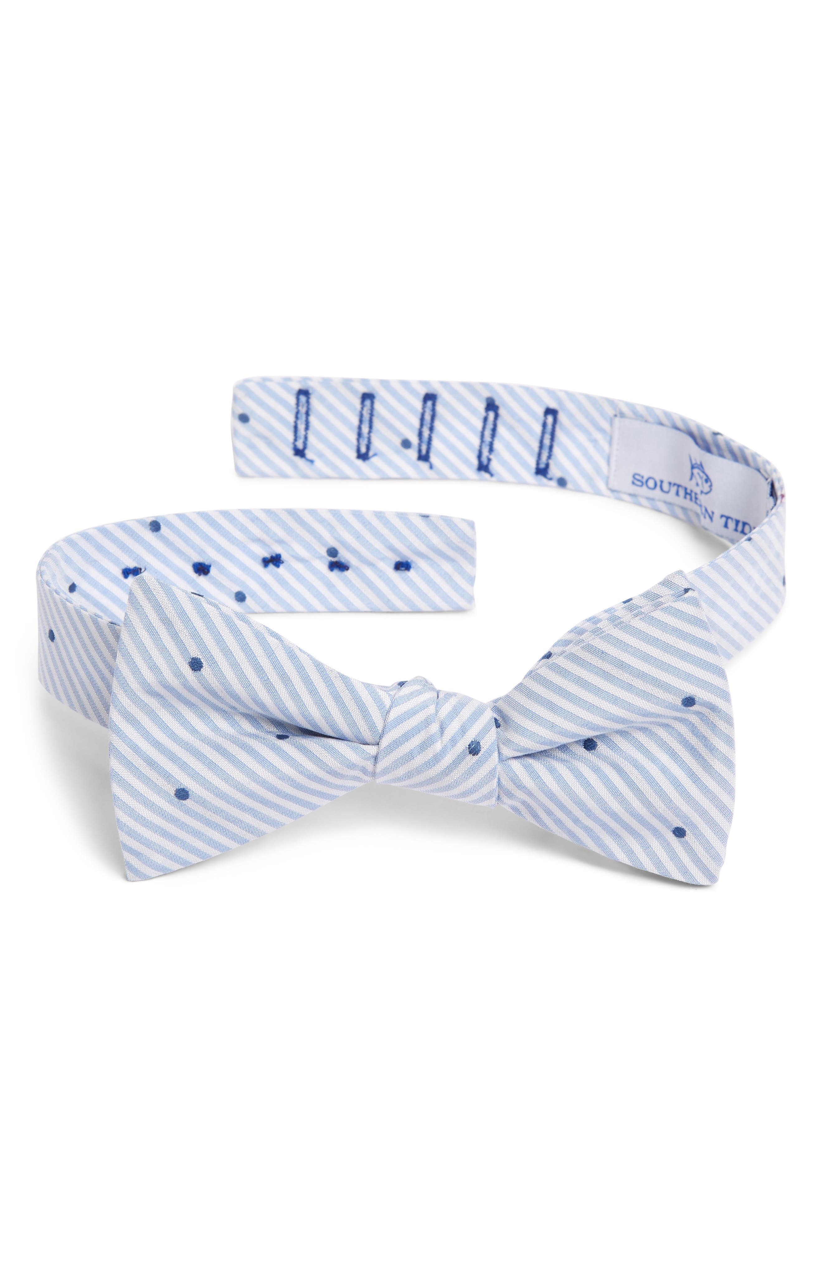 Charleston Dot Cotton & Silk Bow Tie,                         Main,                         color, LIGHT BLUE