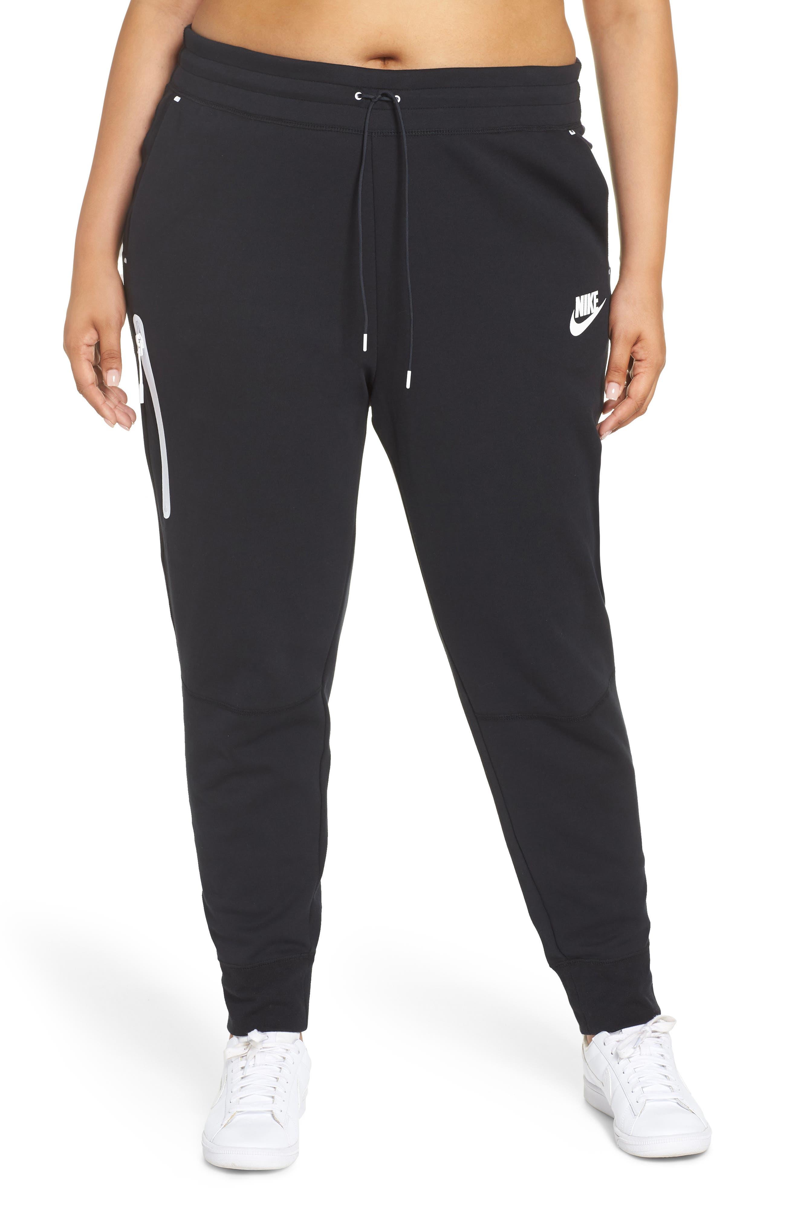 Sportswear High Rise Tech Fleece Jogger Pants,                             Main thumbnail 1, color,                             BLACK/ BLACK/ WHITE
