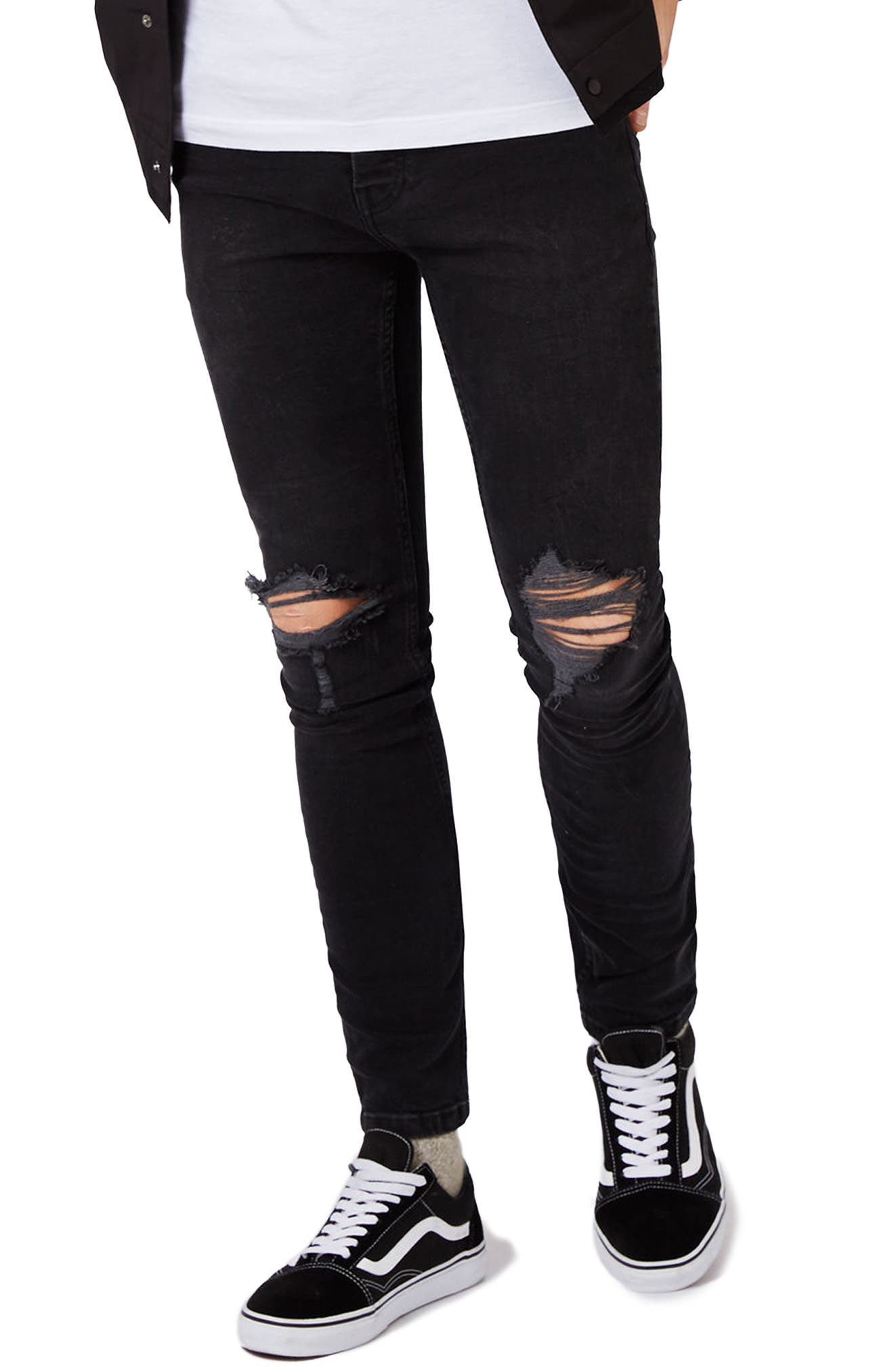 Ripped Skinny Fit Jeans,                             Main thumbnail 1, color,                             001