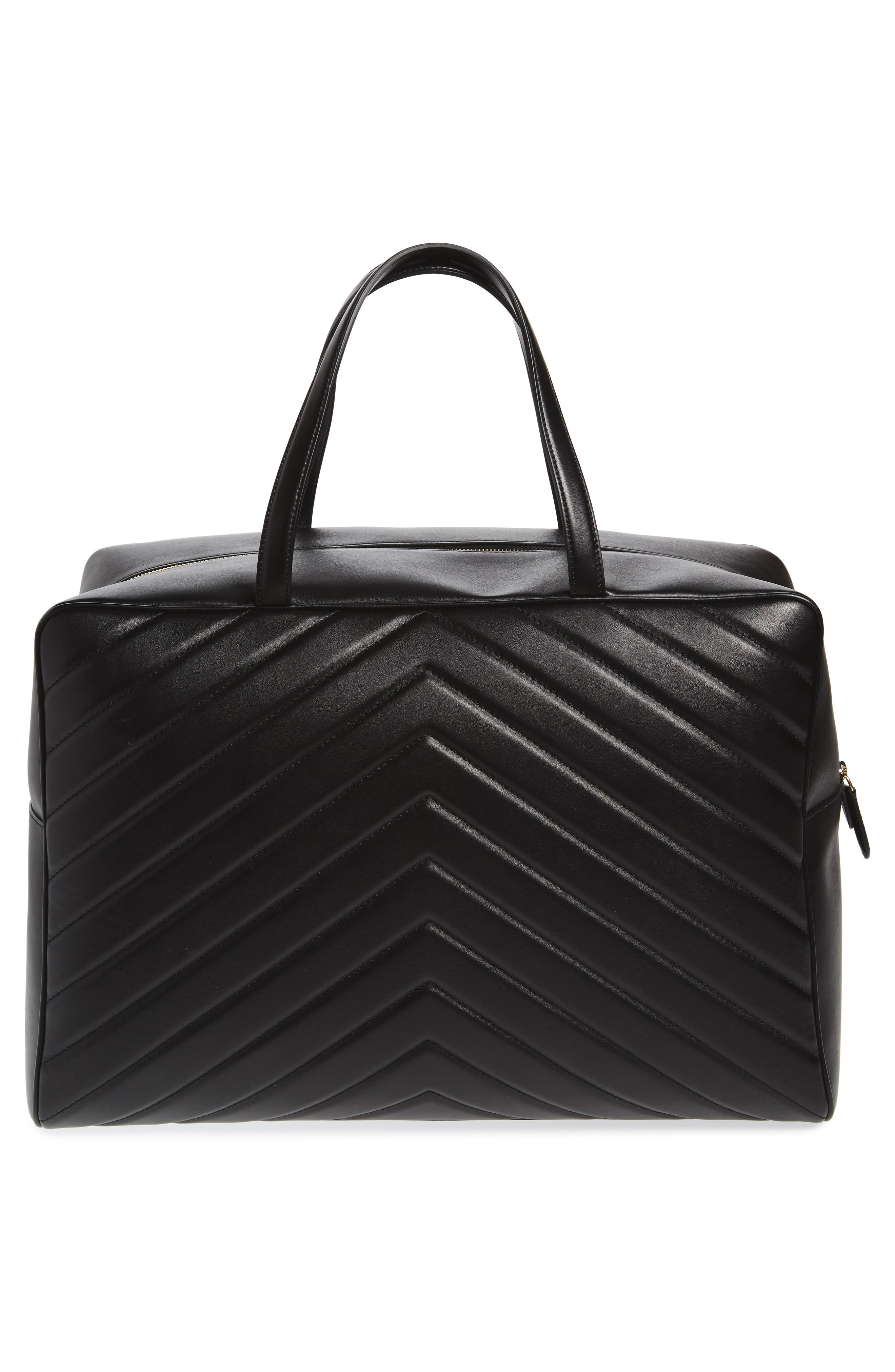 Alter Nappa Faux Leather Overnight Duffel,                             Alternate thumbnail 3, color,                             BLACK