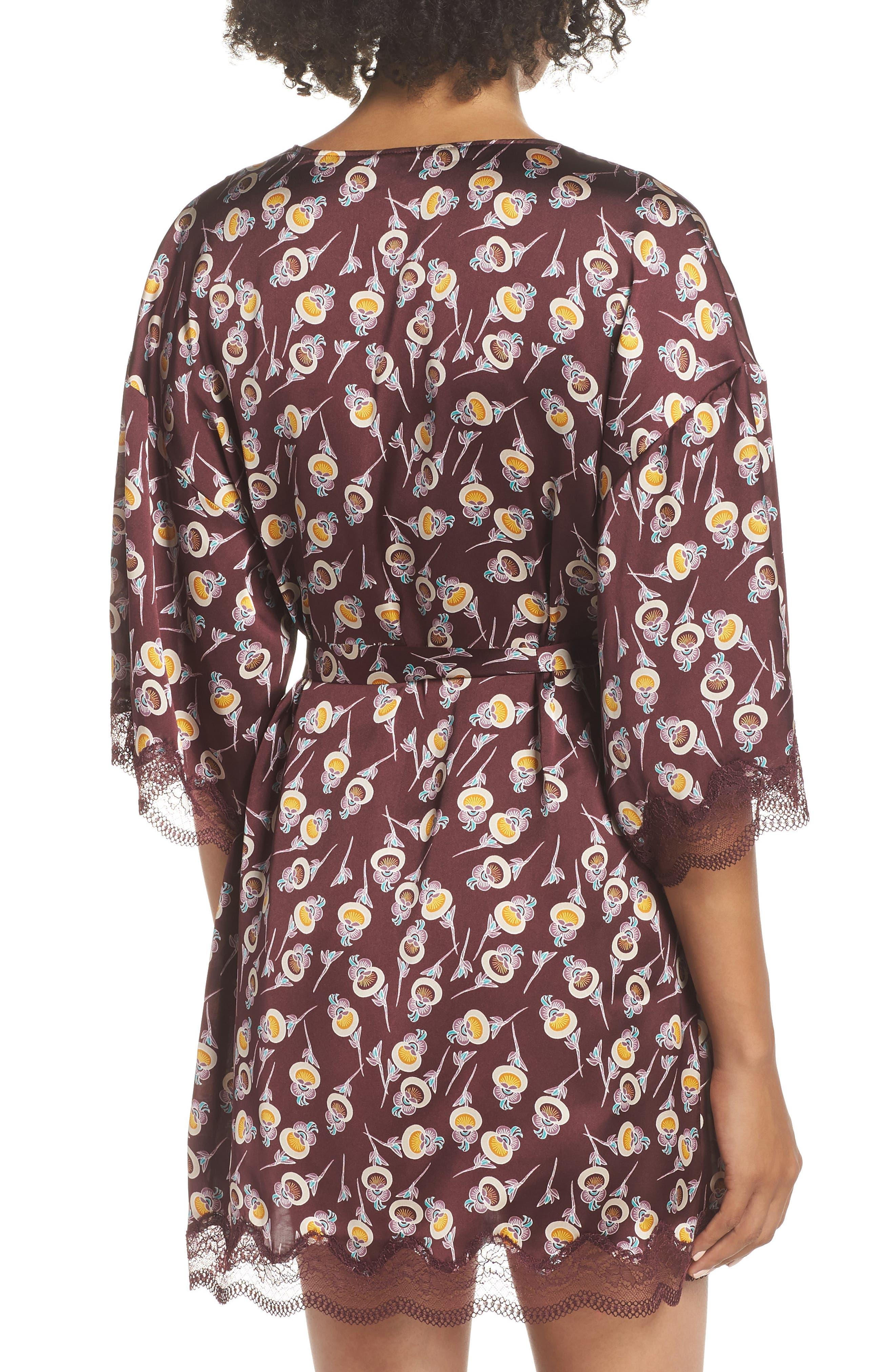 Floral Print Satin Kimono,                             Alternate thumbnail 2, color,                             BURGUNDY FIG ORIENTAL BLOOM