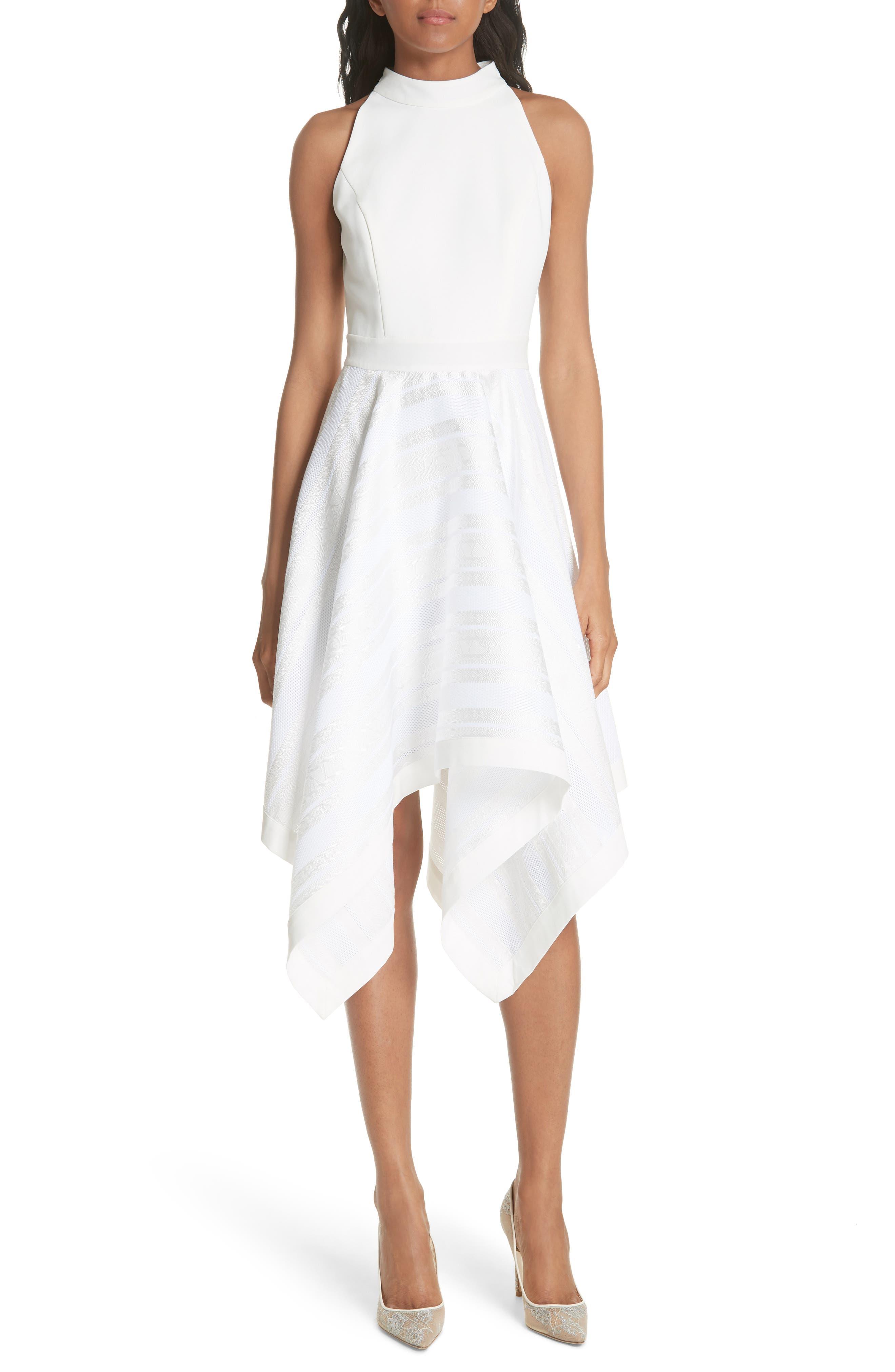 Draped Fit & Flare Dress,                             Main thumbnail 1, color,                             110