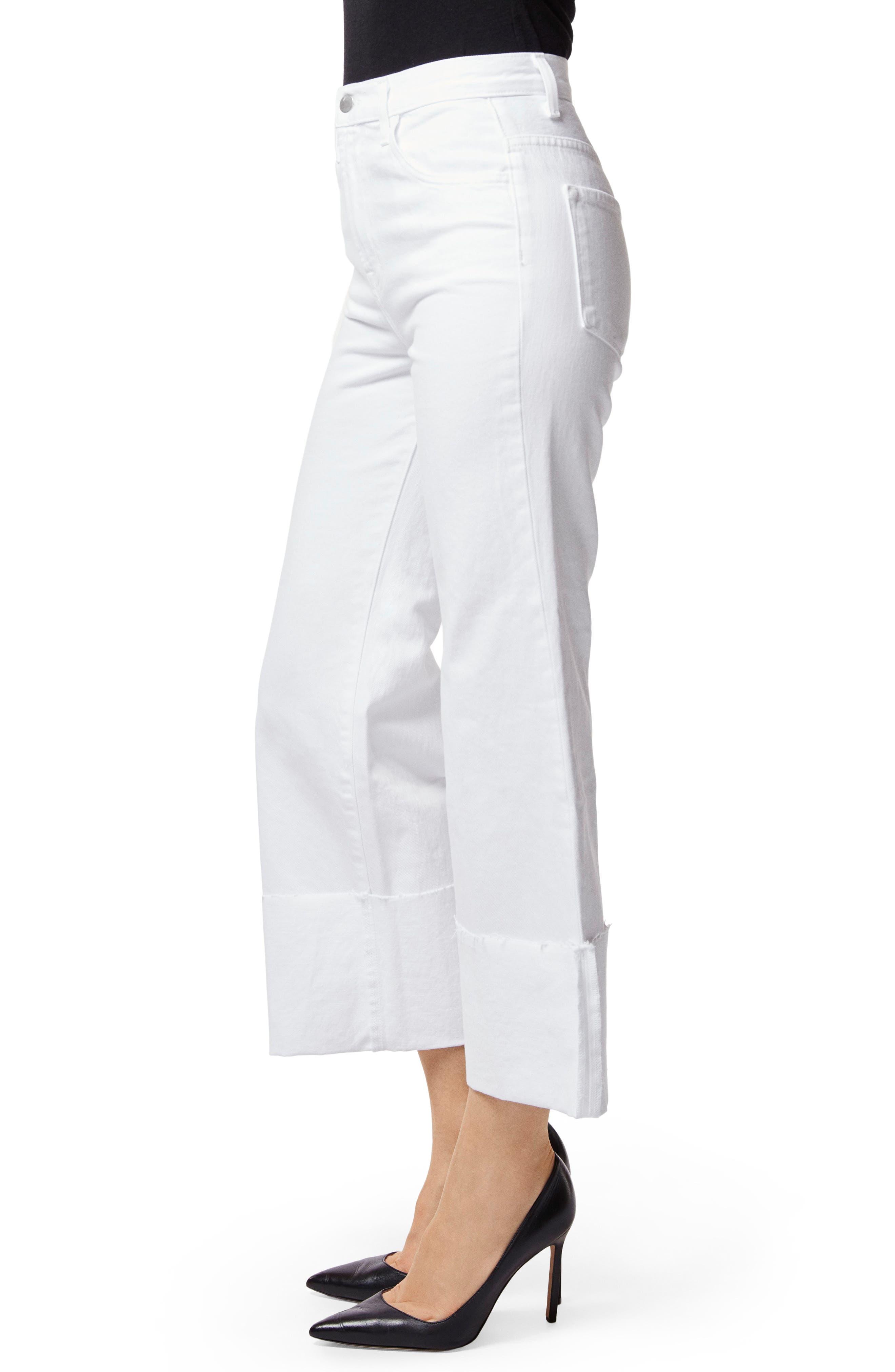 Joan High Waist Crop Wide Leg Jeans,                             Alternate thumbnail 3, color,                             100