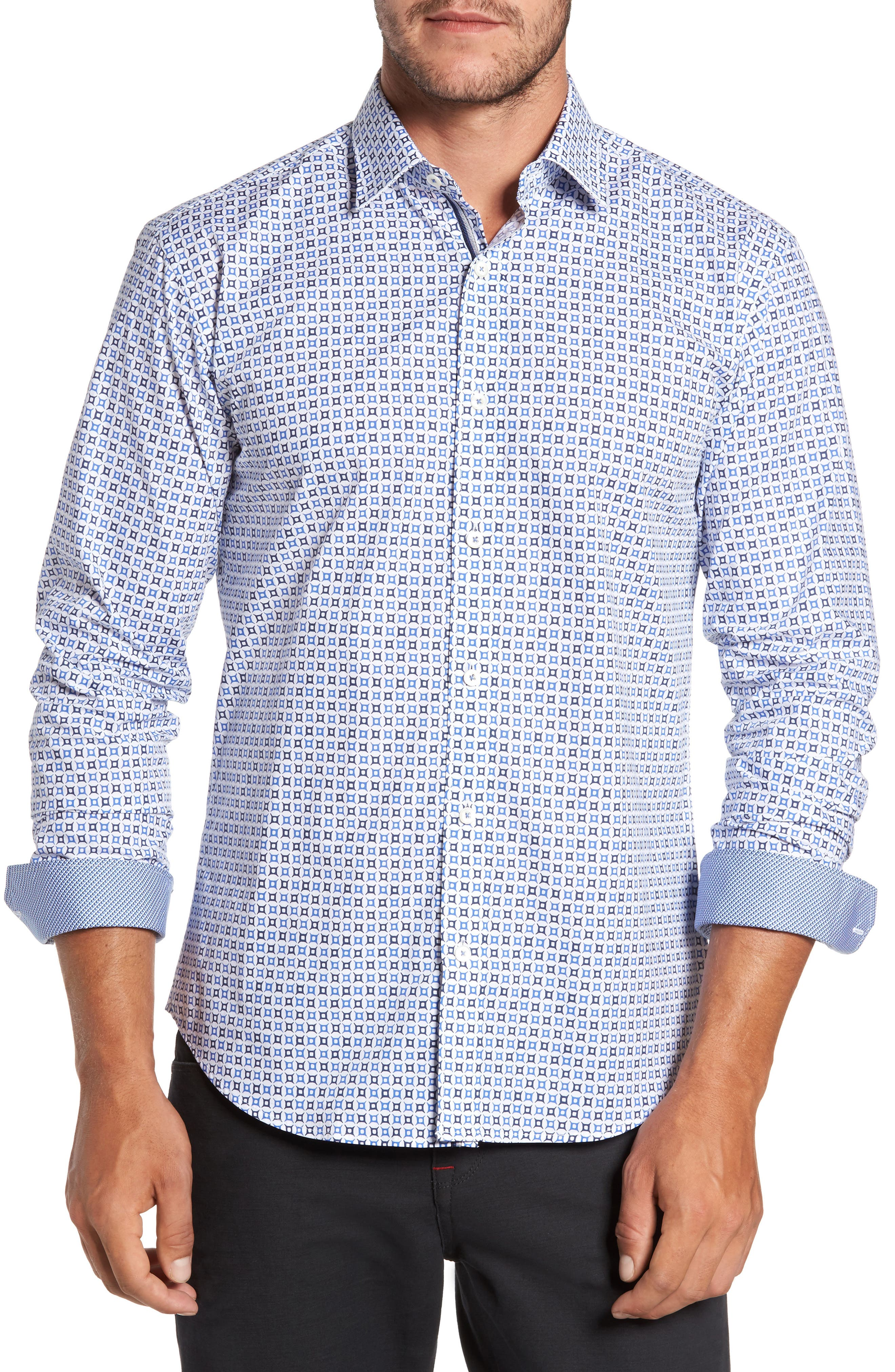 Trim Fit Geo Print Sport Shirt,                         Main,                         color, 100