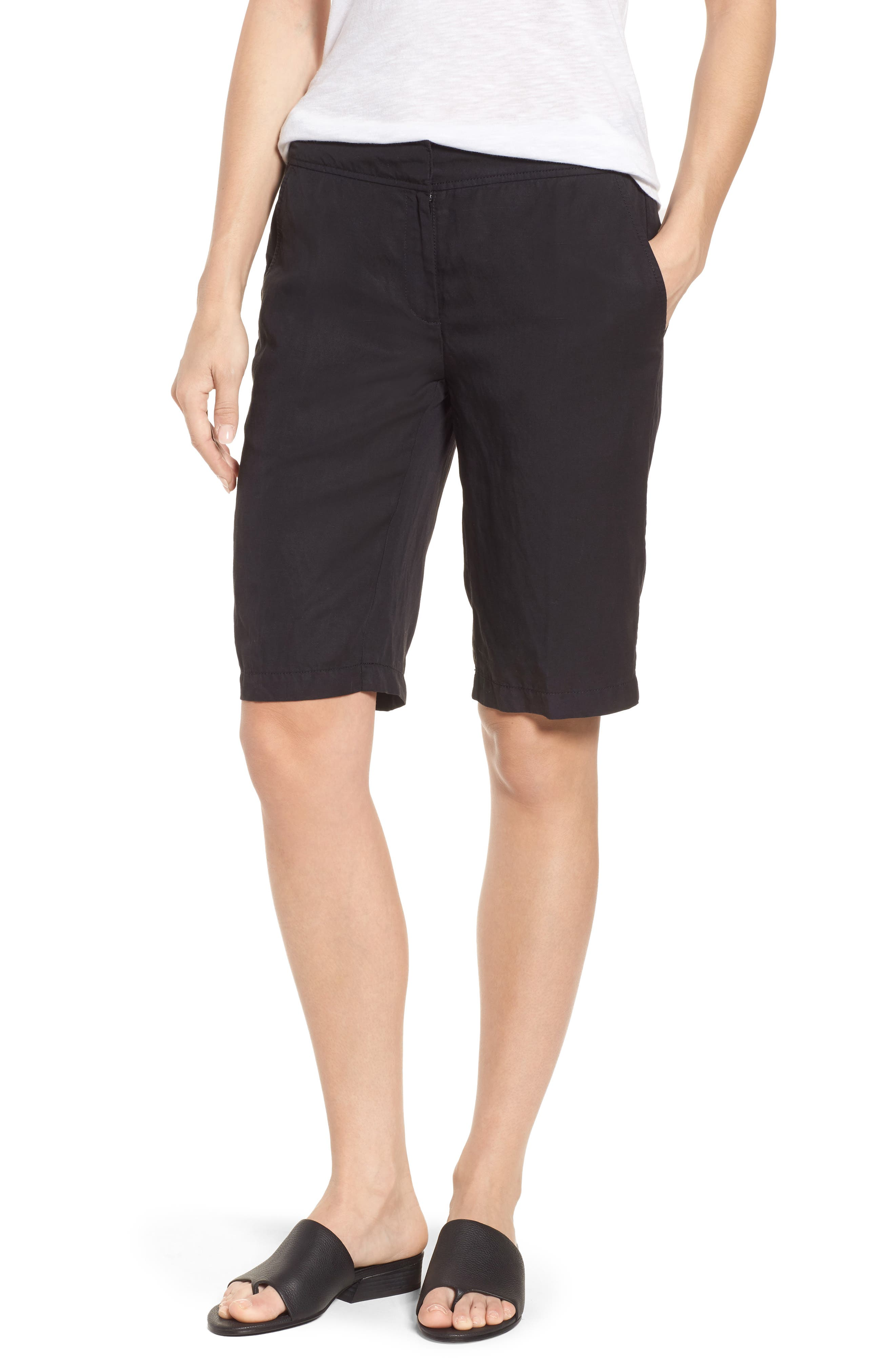 Tencel<sup>®</sup> Lyocell & Linen Walking Shorts,                         Main,                         color, 001
