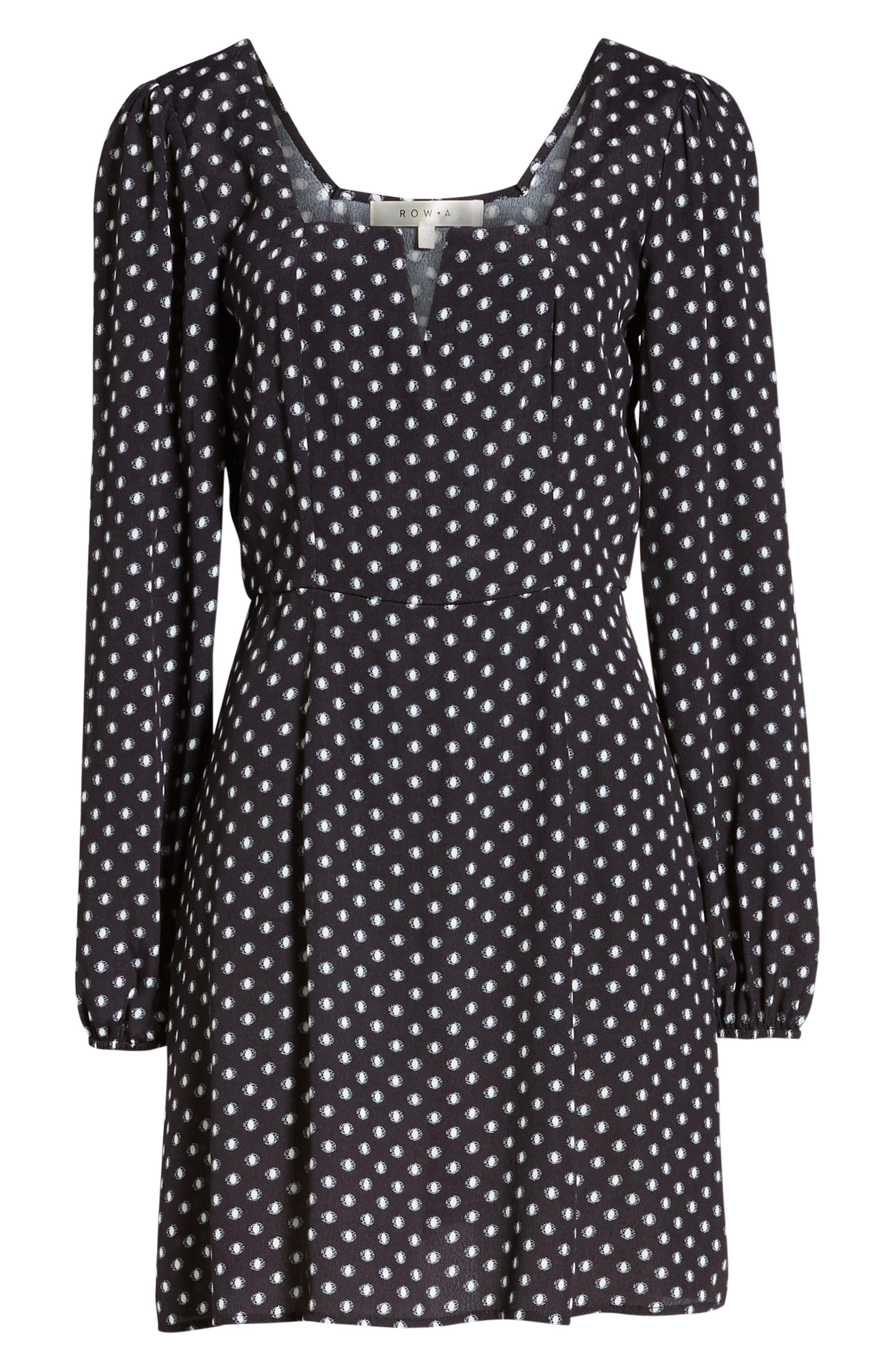 Printed A-Line Dress,                             Alternate thumbnail 7, color,                             BLACK/ WHITE DOT