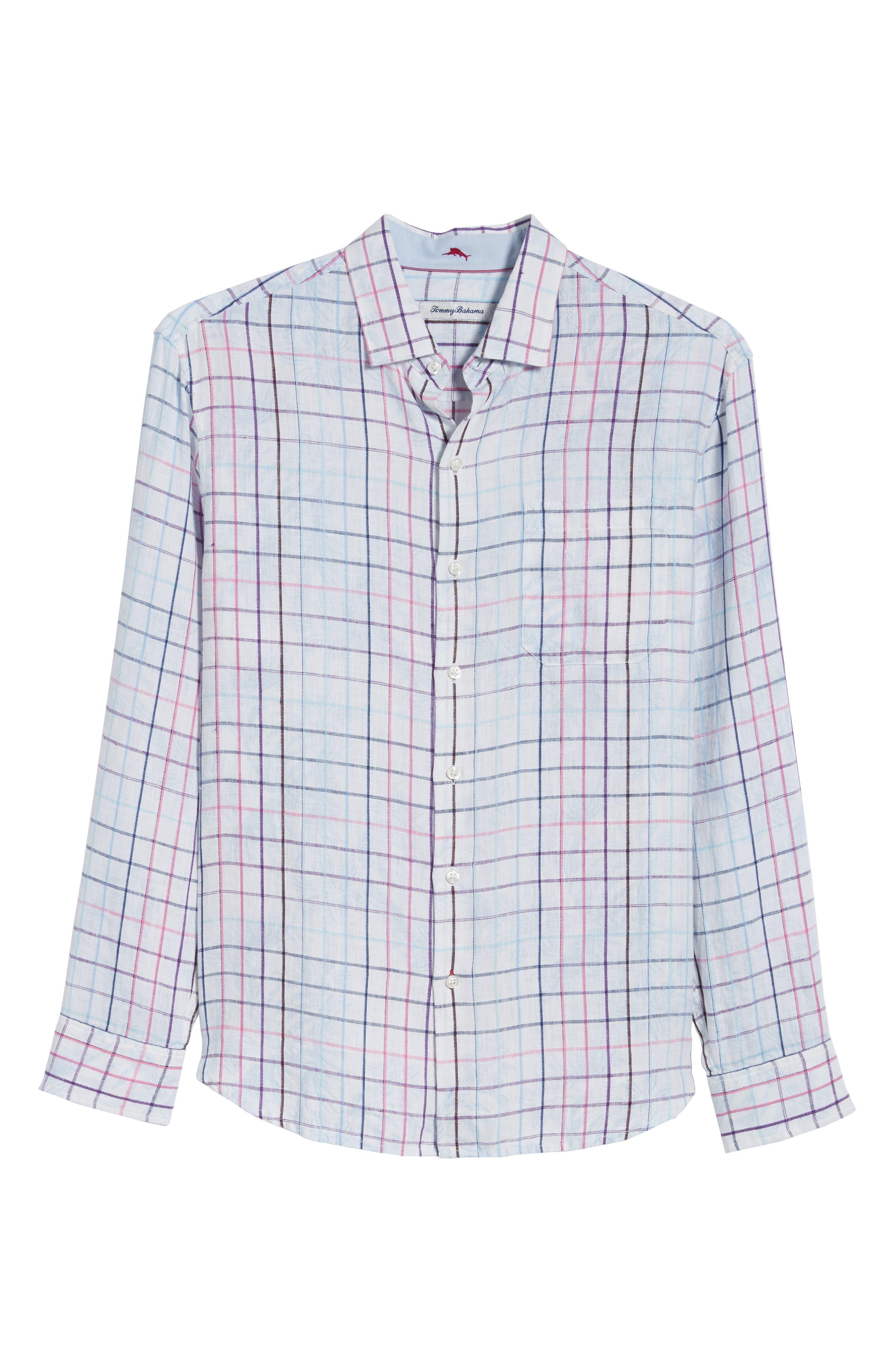 Tulum Terrace Check Linen Sport Shirt,                             Alternate thumbnail 6, color,                             BOWTIE BLUE