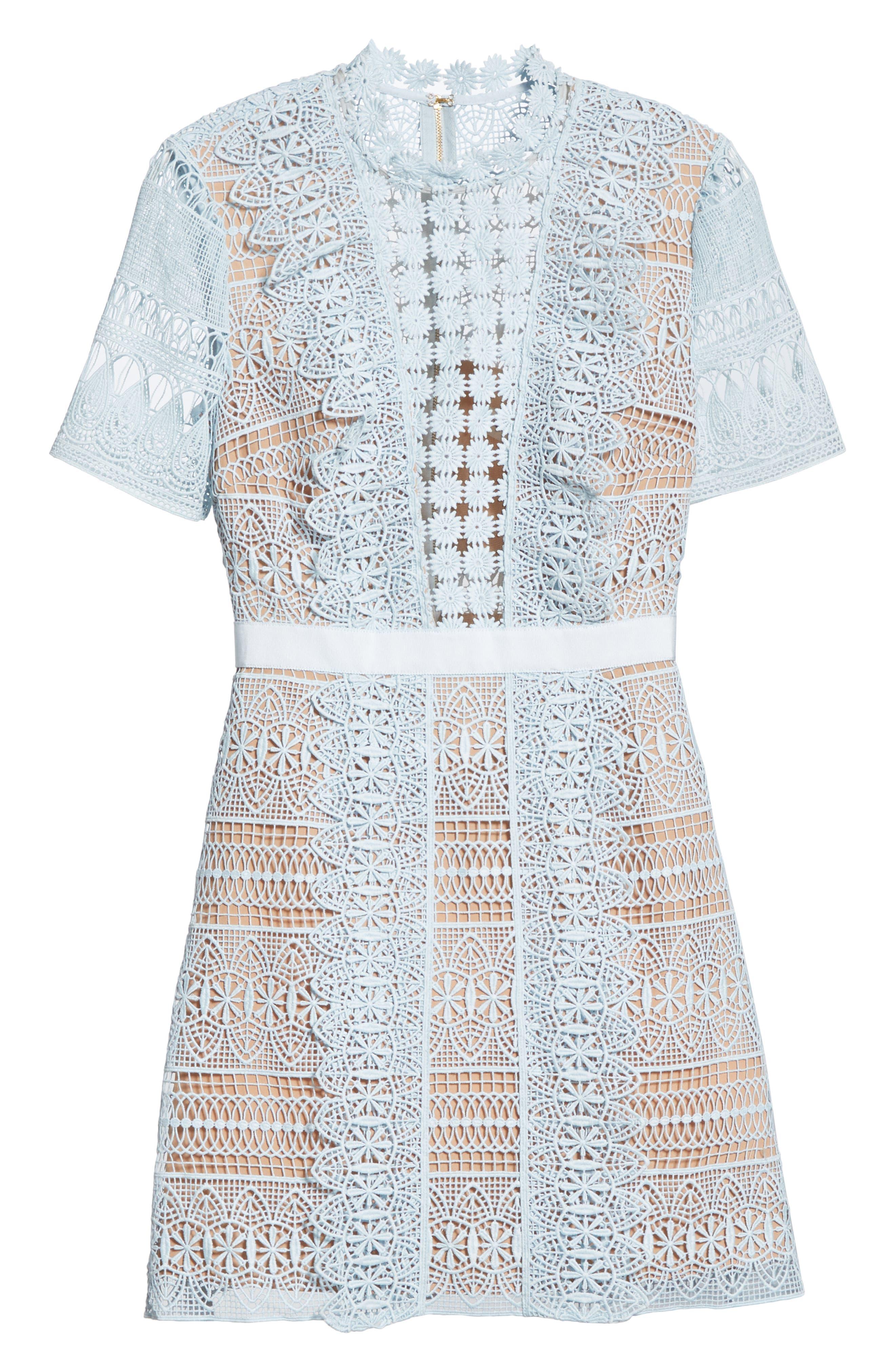 SELF-PORTRAIT,                             Lace A-Line Minidress,                             Alternate thumbnail 6, color,                             BLUE