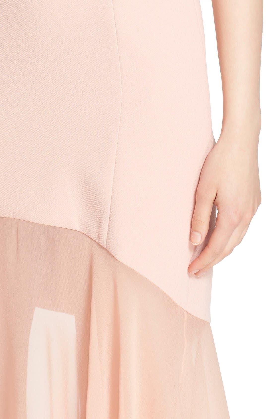 Sheer Hem Crepe Dress,                             Alternate thumbnail 6, color,                             650
