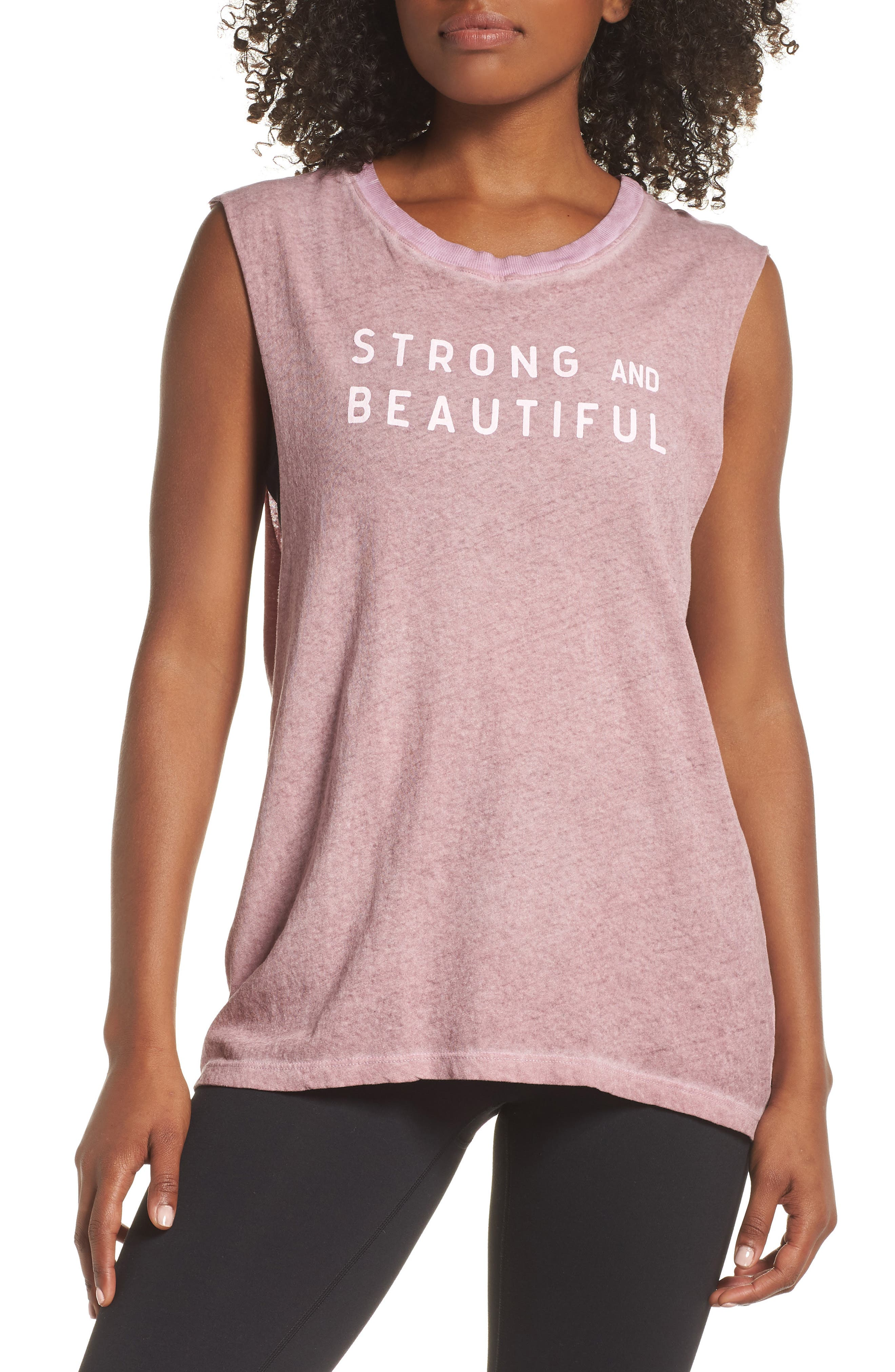 Strong and Beautiful Muscle Tank,                             Main thumbnail 1, color,                             ANTIQUE DUSTY ROSE