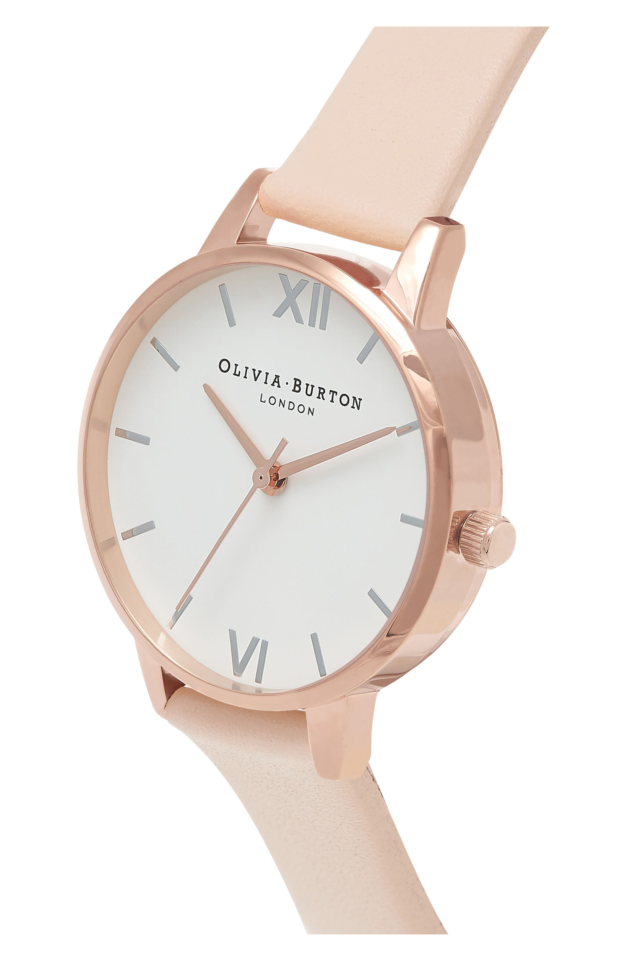 OLIVIA BURTON,                             Midi Dial Leather Strap Watch, 30mm,                             Alternate thumbnail 3, color,                             NUDE PEACH/ WHITE/ ROSE GOLD