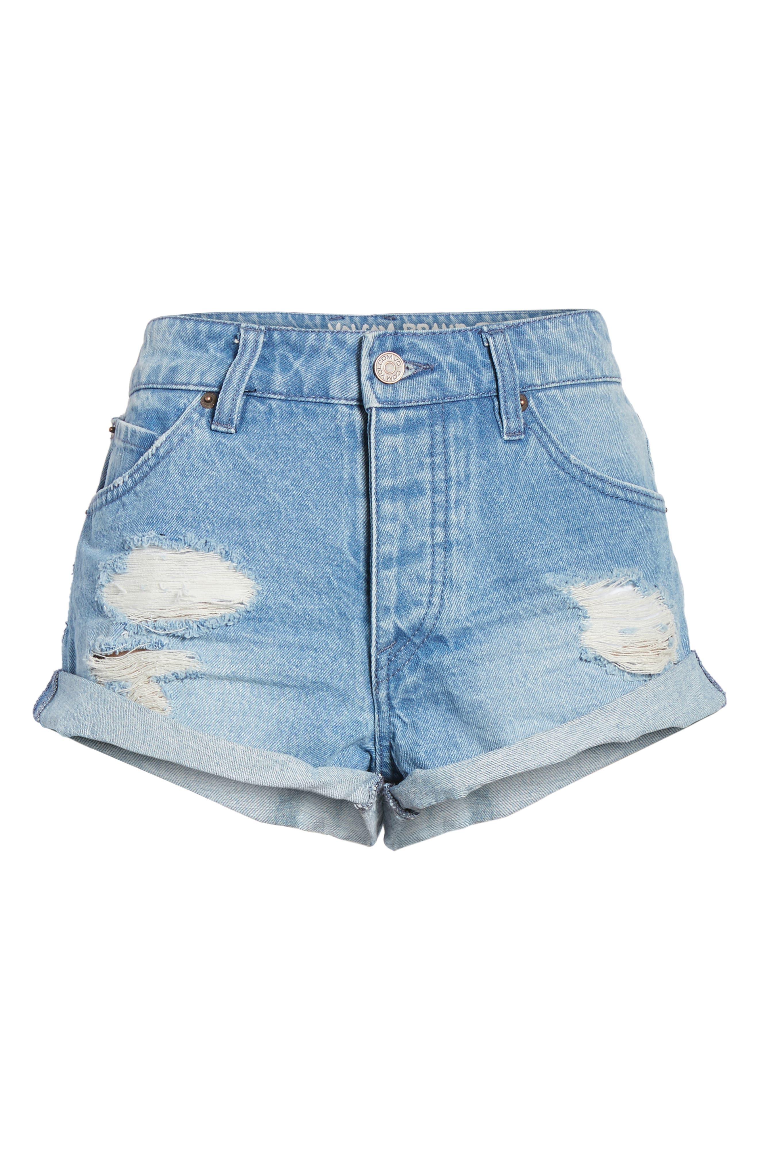 Rolled Denim Shorts,                             Alternate thumbnail 12, color,