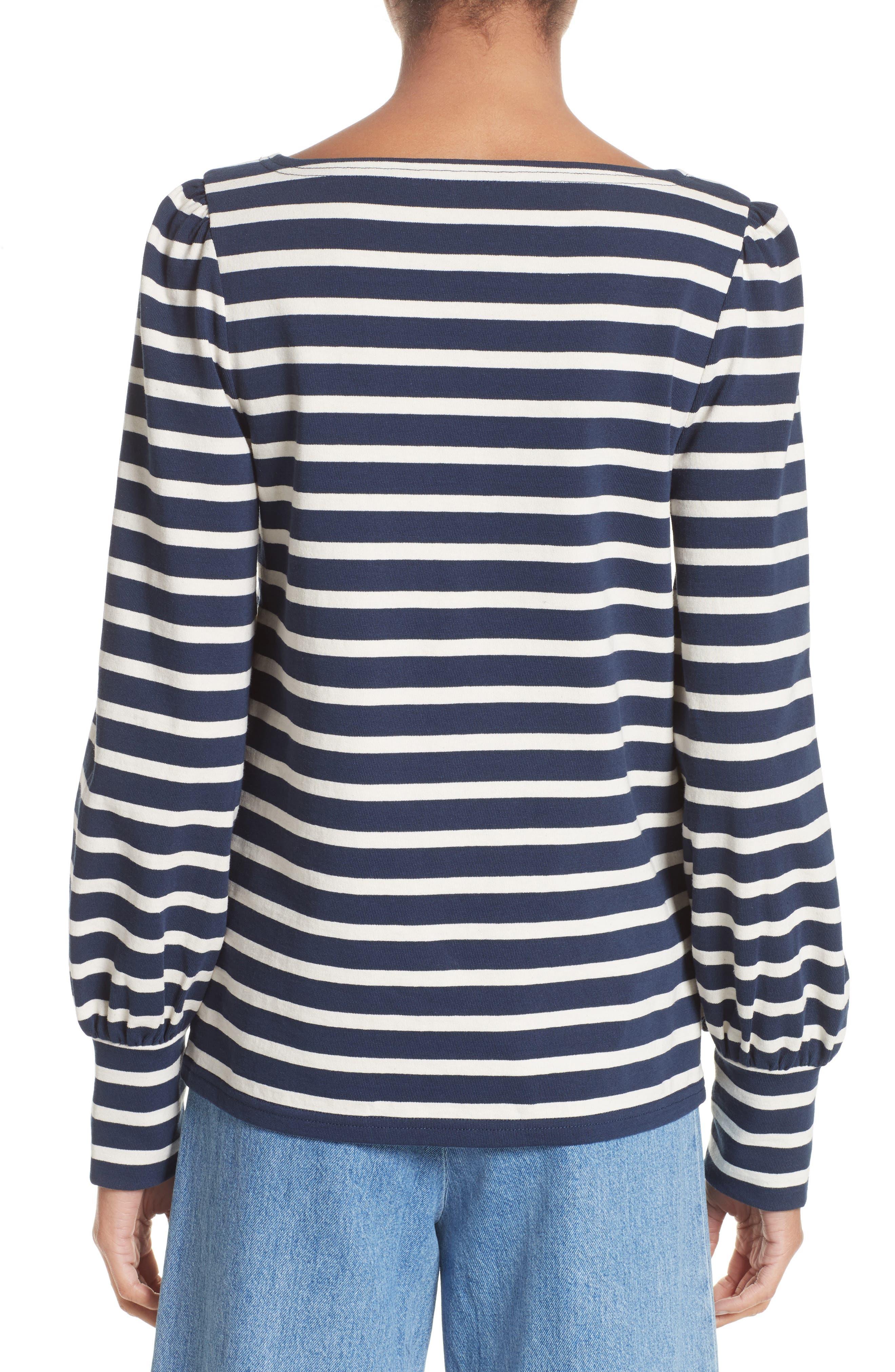 Reverse Breton Stripe Bell Sleeve Top,                             Alternate thumbnail 2, color,