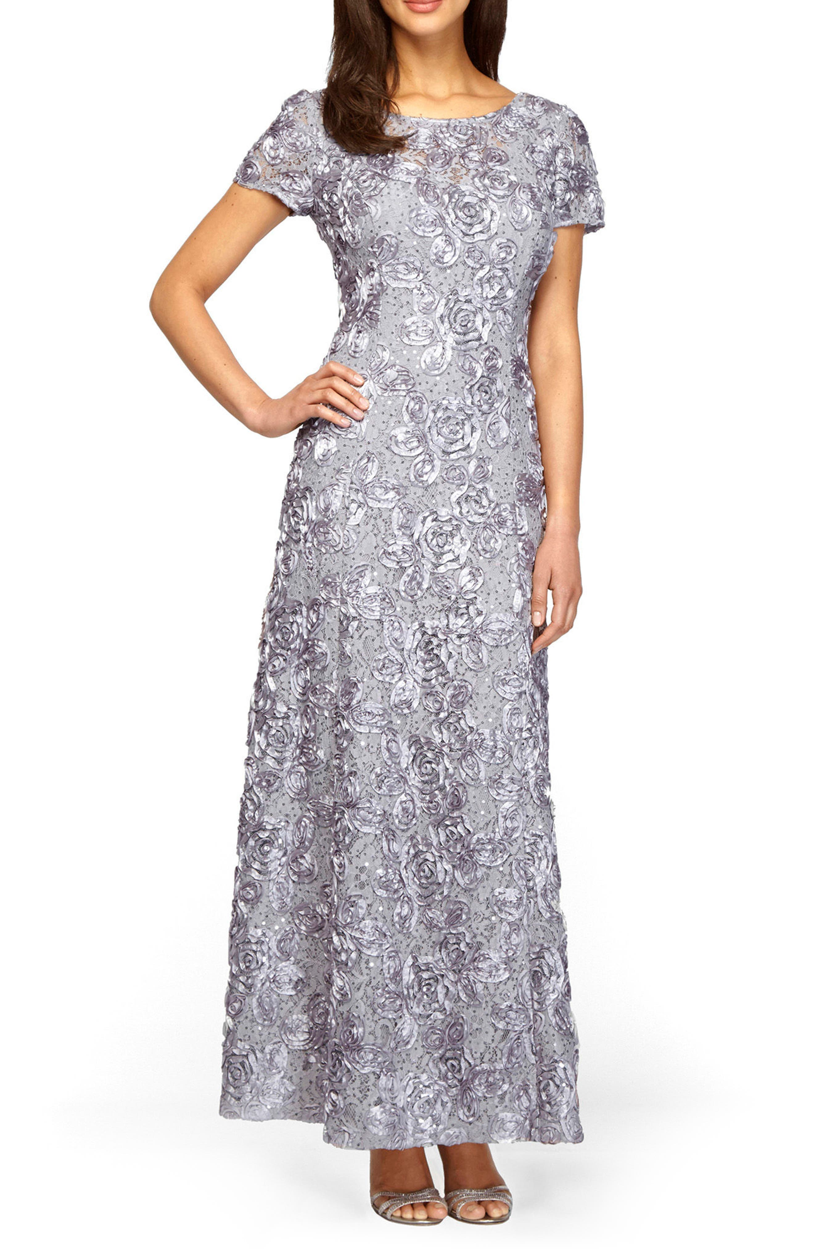 Alex Evenings Embellished Lace Gown, Metallic