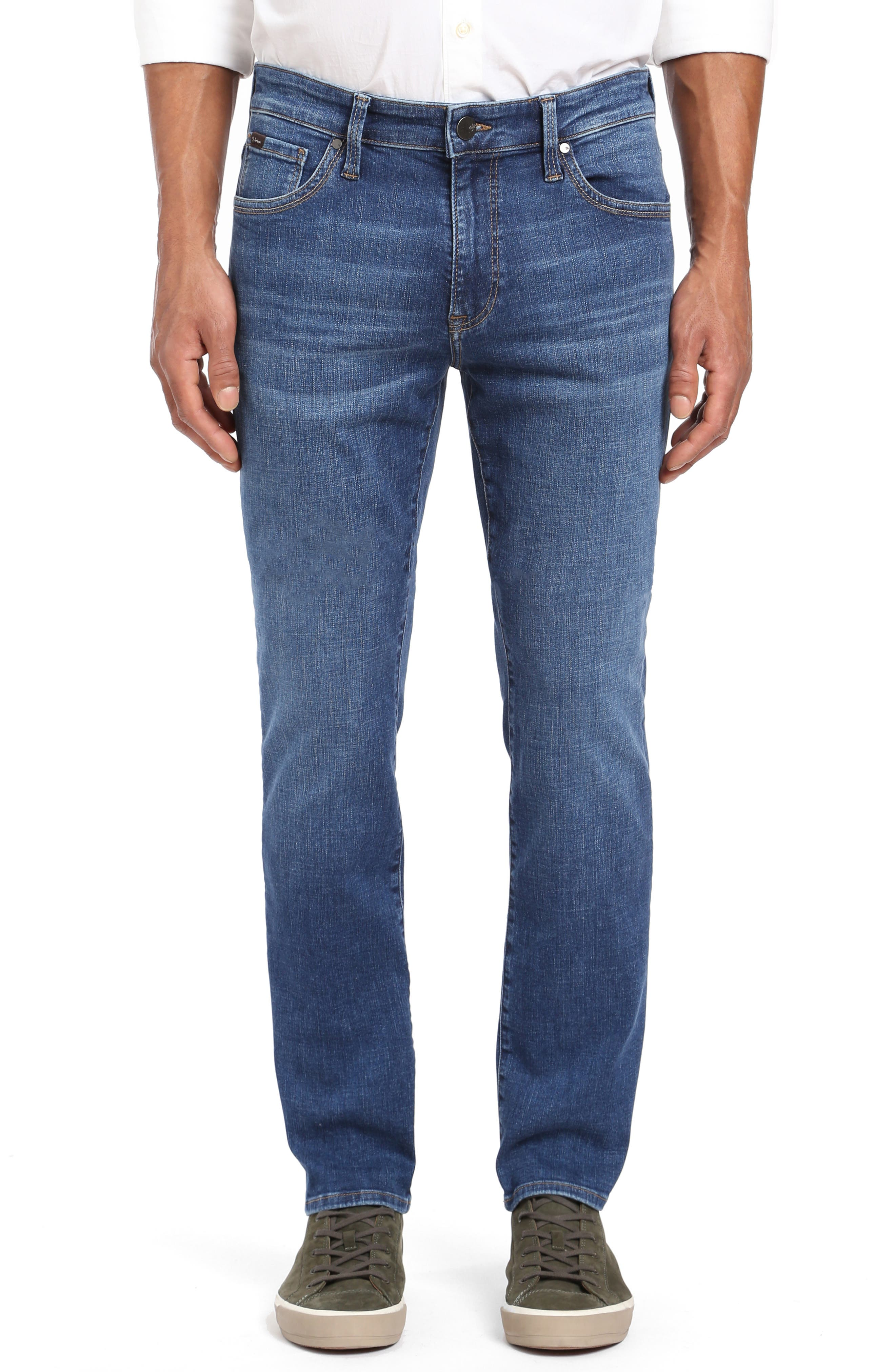 Cool Slim Straight Leg Jeans,                             Main thumbnail 1, color,                             MID INDIGO CASHMERE