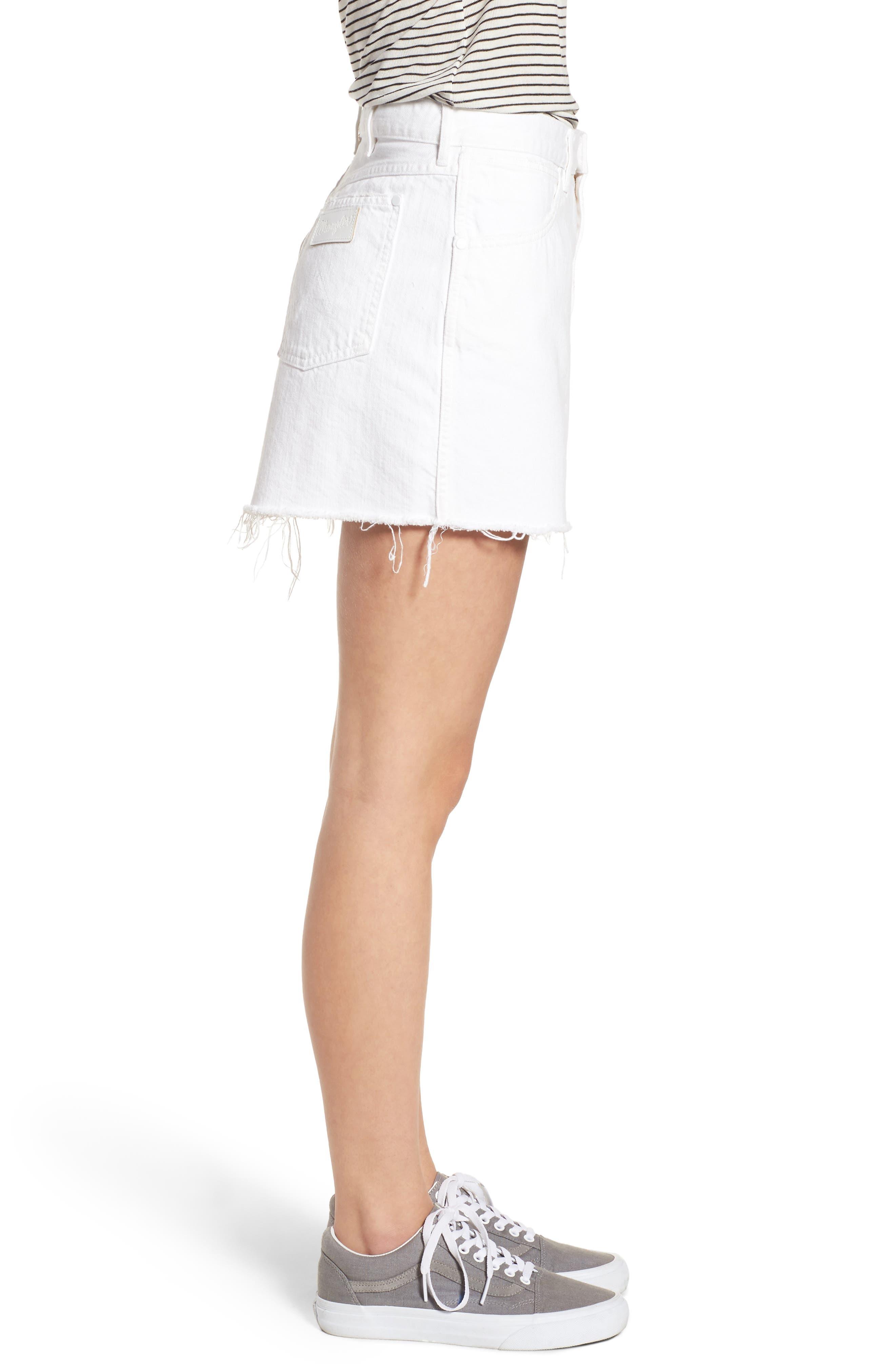 Fray Hem Denim Skirt,                             Alternate thumbnail 3, color,                             100